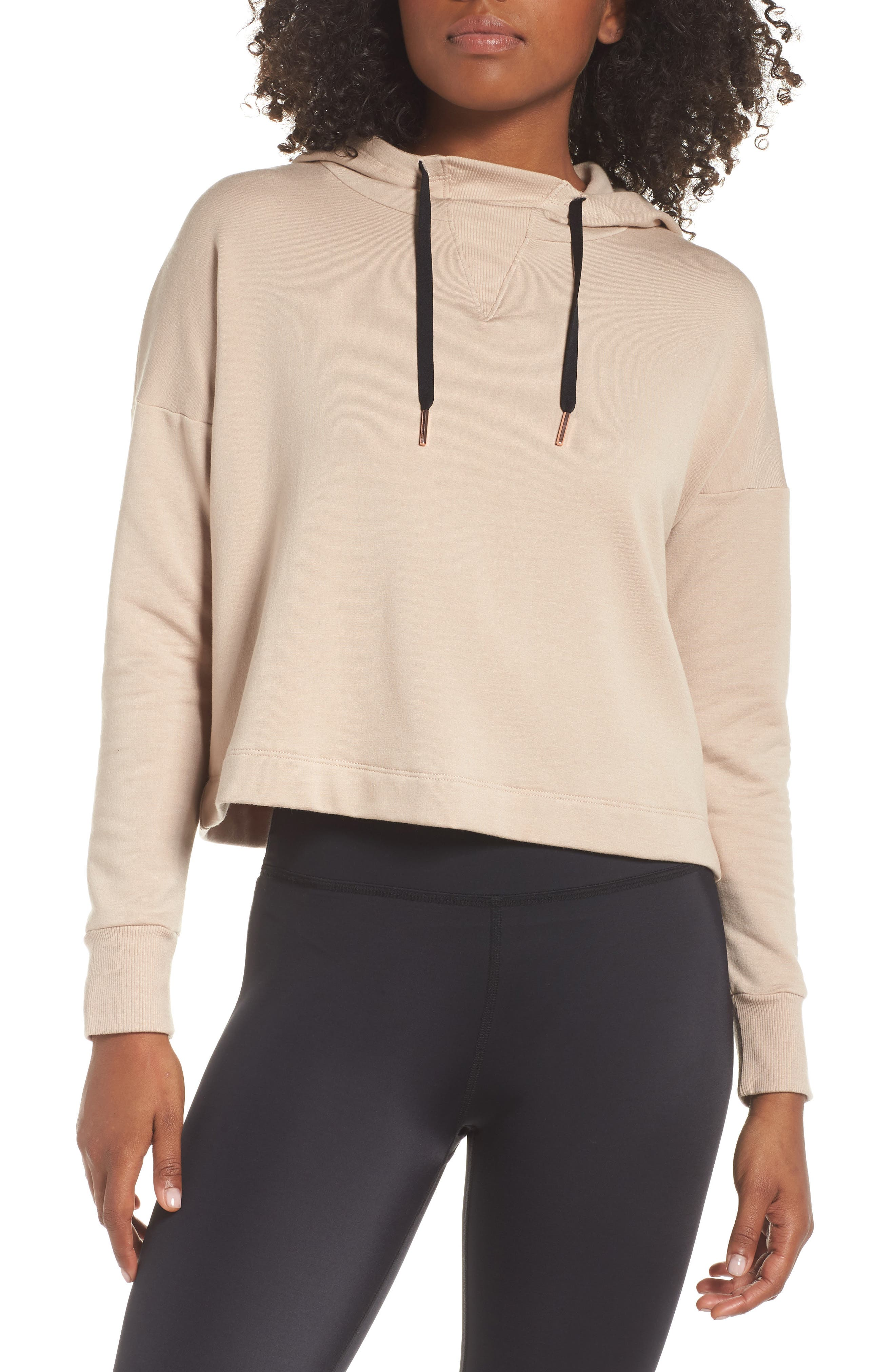 Sedona Cropped Hoodie,                             Main thumbnail 1, color,                             TEXAS TAUPE