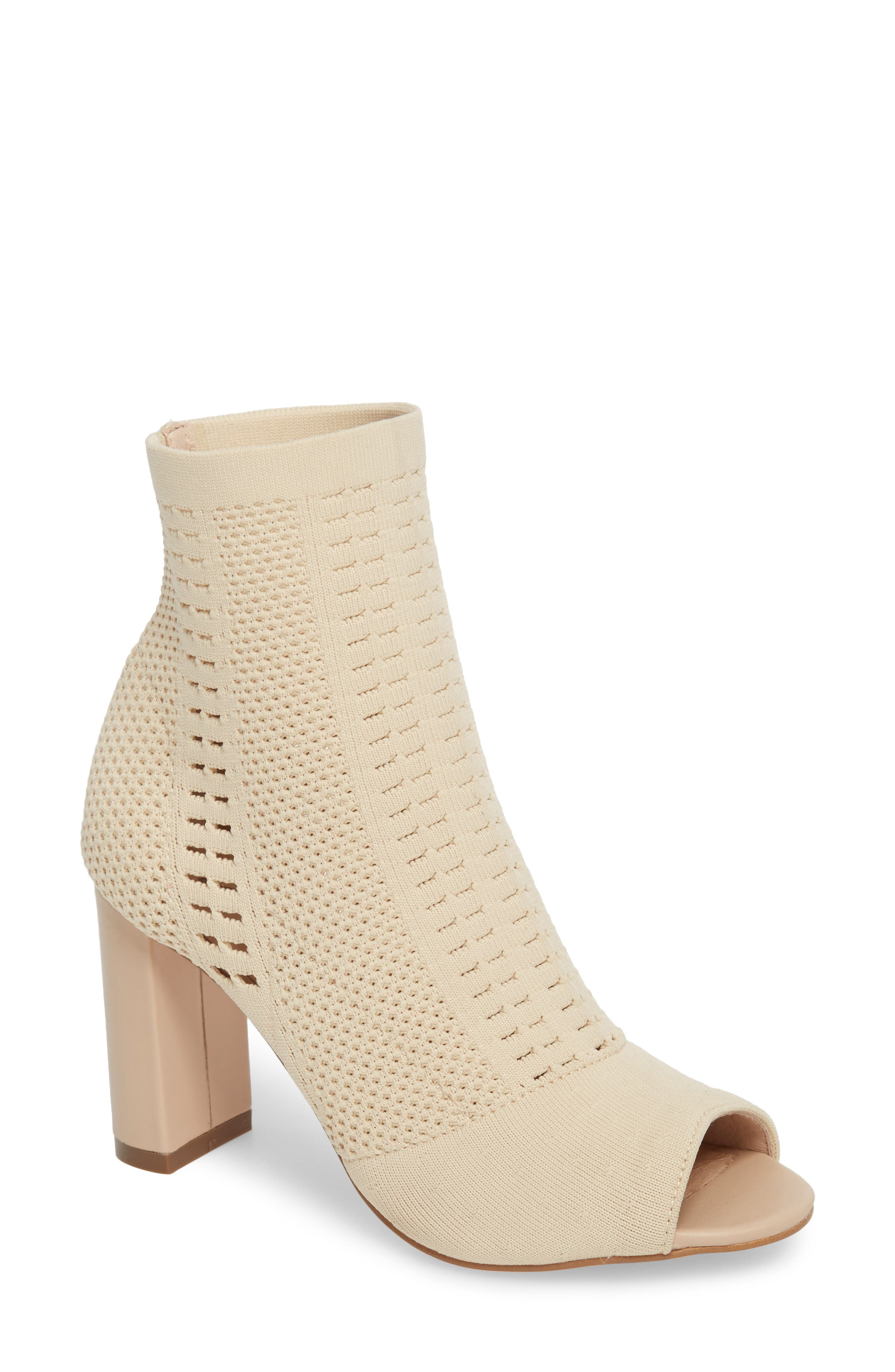 Can't Stop Open Toe Sock Bootie,                             Main thumbnail 1, color,                             NATURAL STRETCH