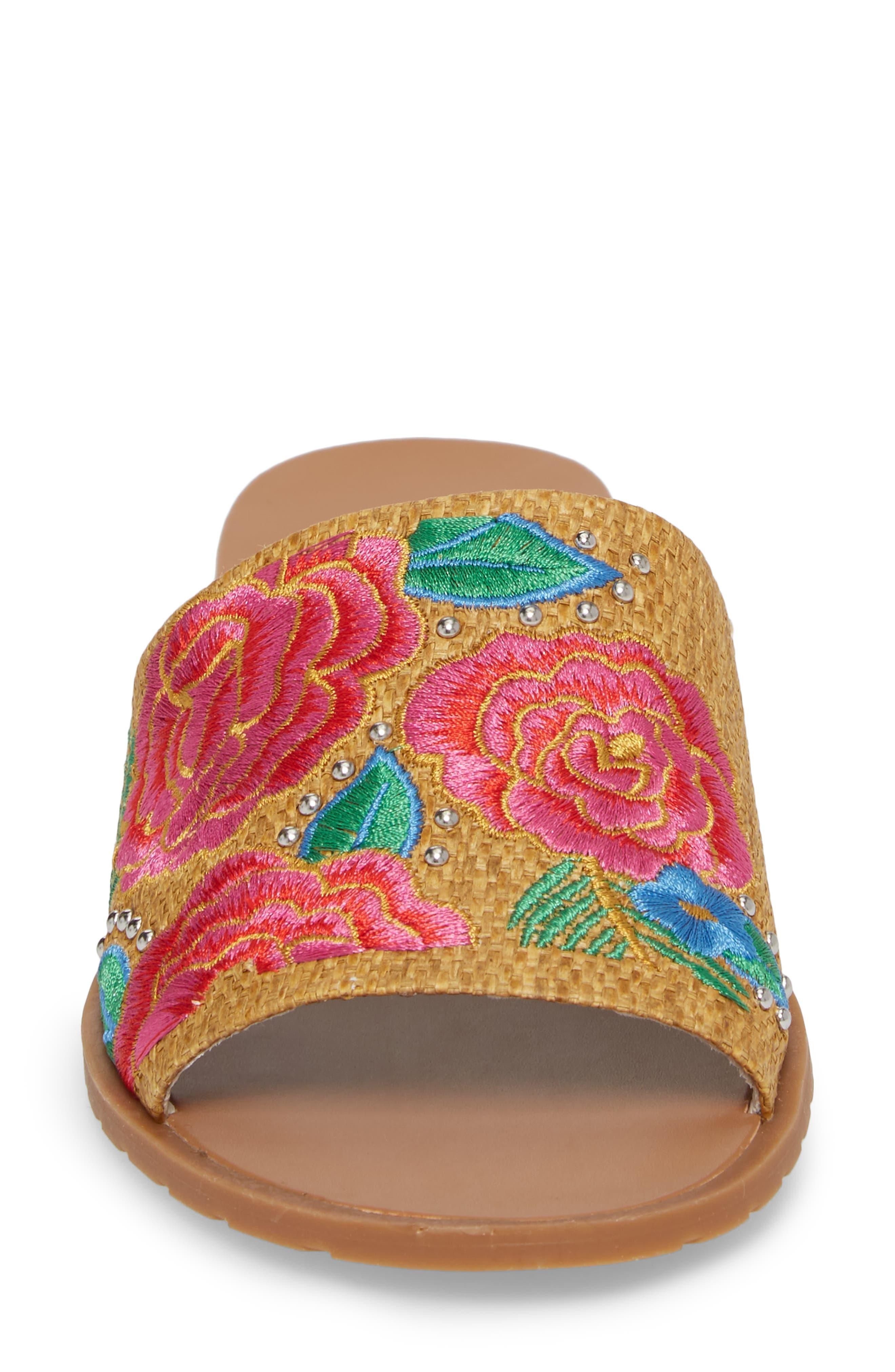 Joanne Flower Embroidered Slide Sandal,                             Alternate thumbnail 22, color,