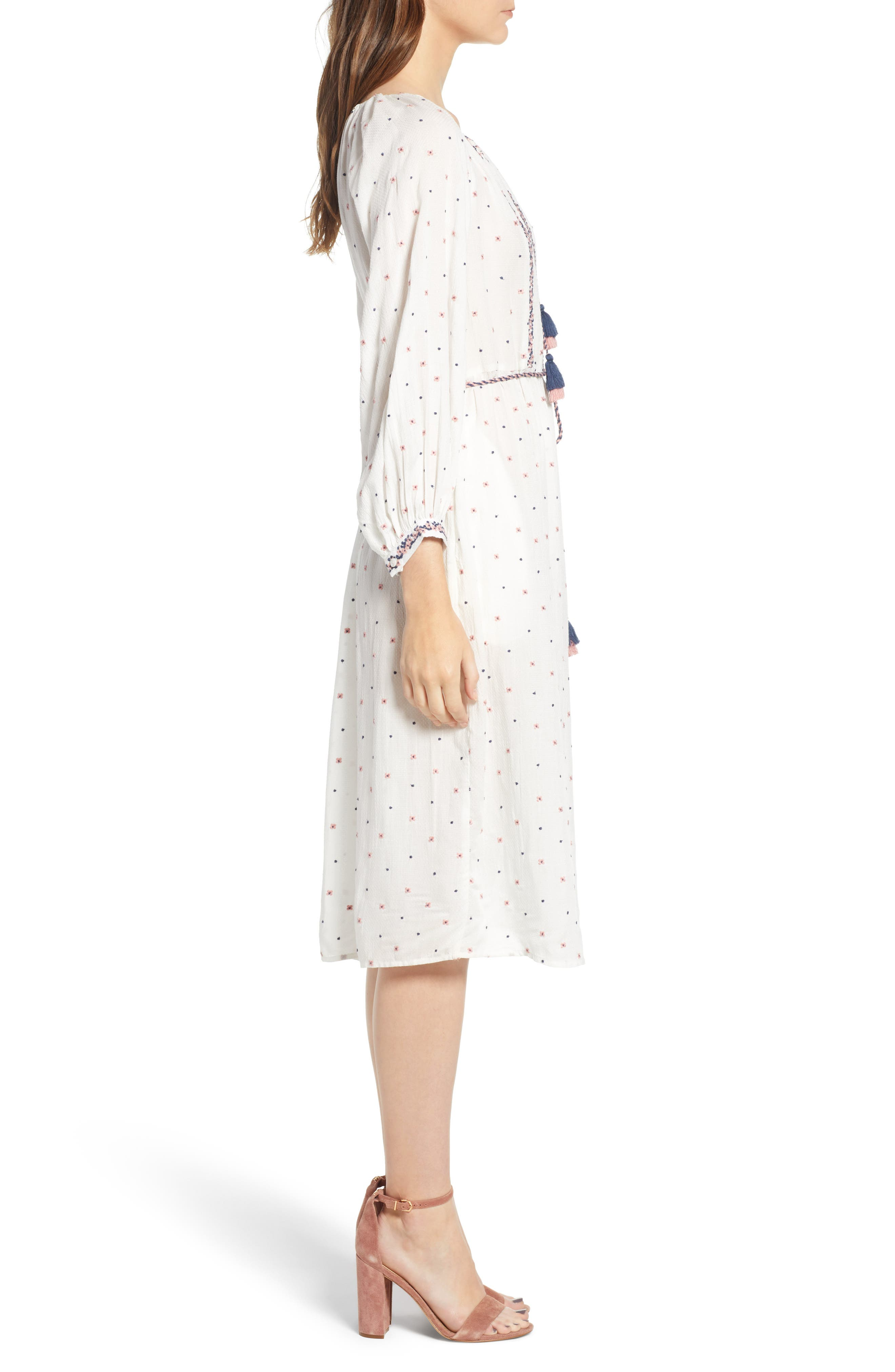 Embroidered Tassel Tie A-Line Dress,                             Alternate thumbnail 3, color,                             906