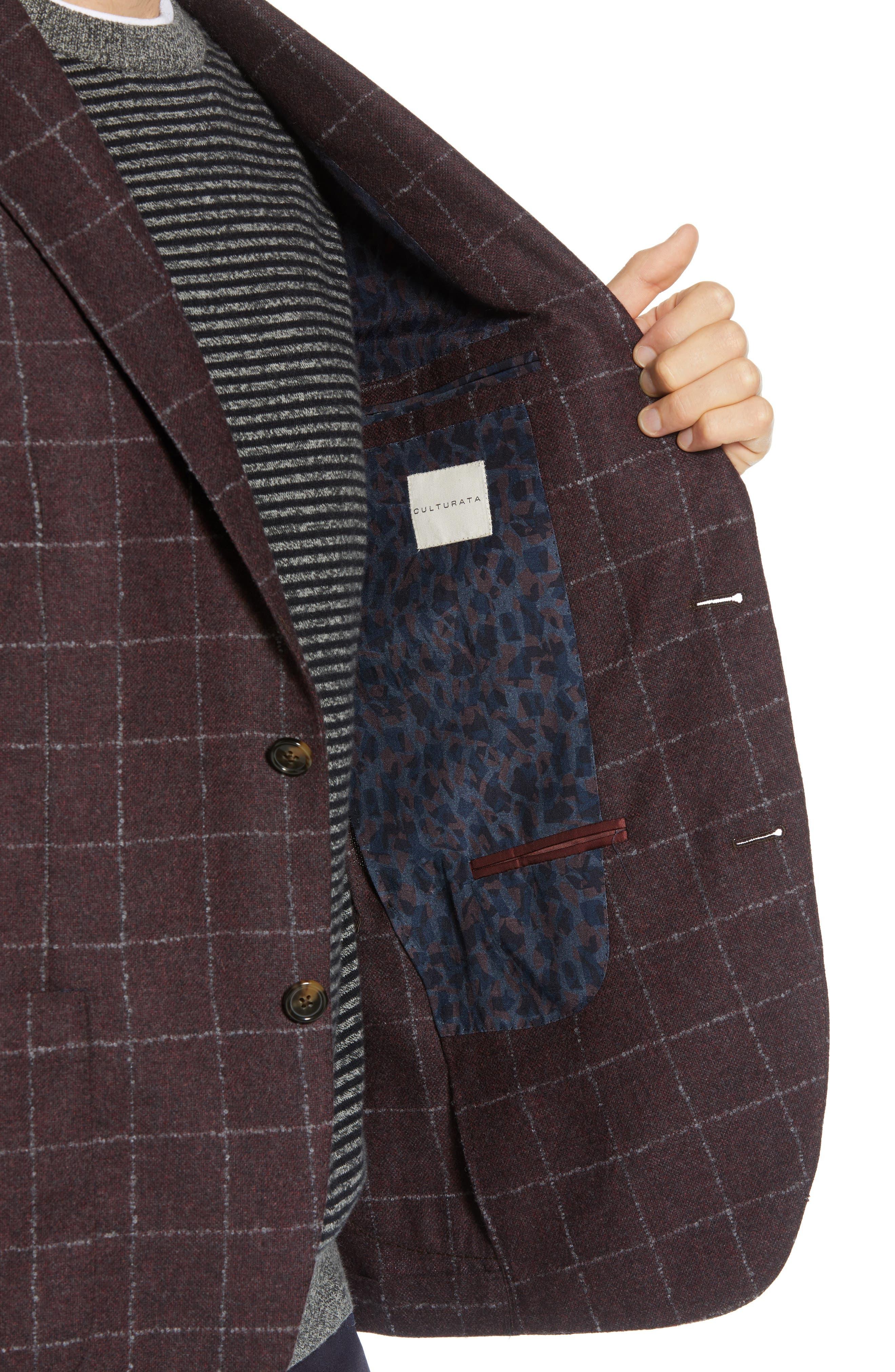 Trim Fit Windowpane Wool & Cashmere Sport Coat,                             Alternate thumbnail 4, color,                             DARK RED