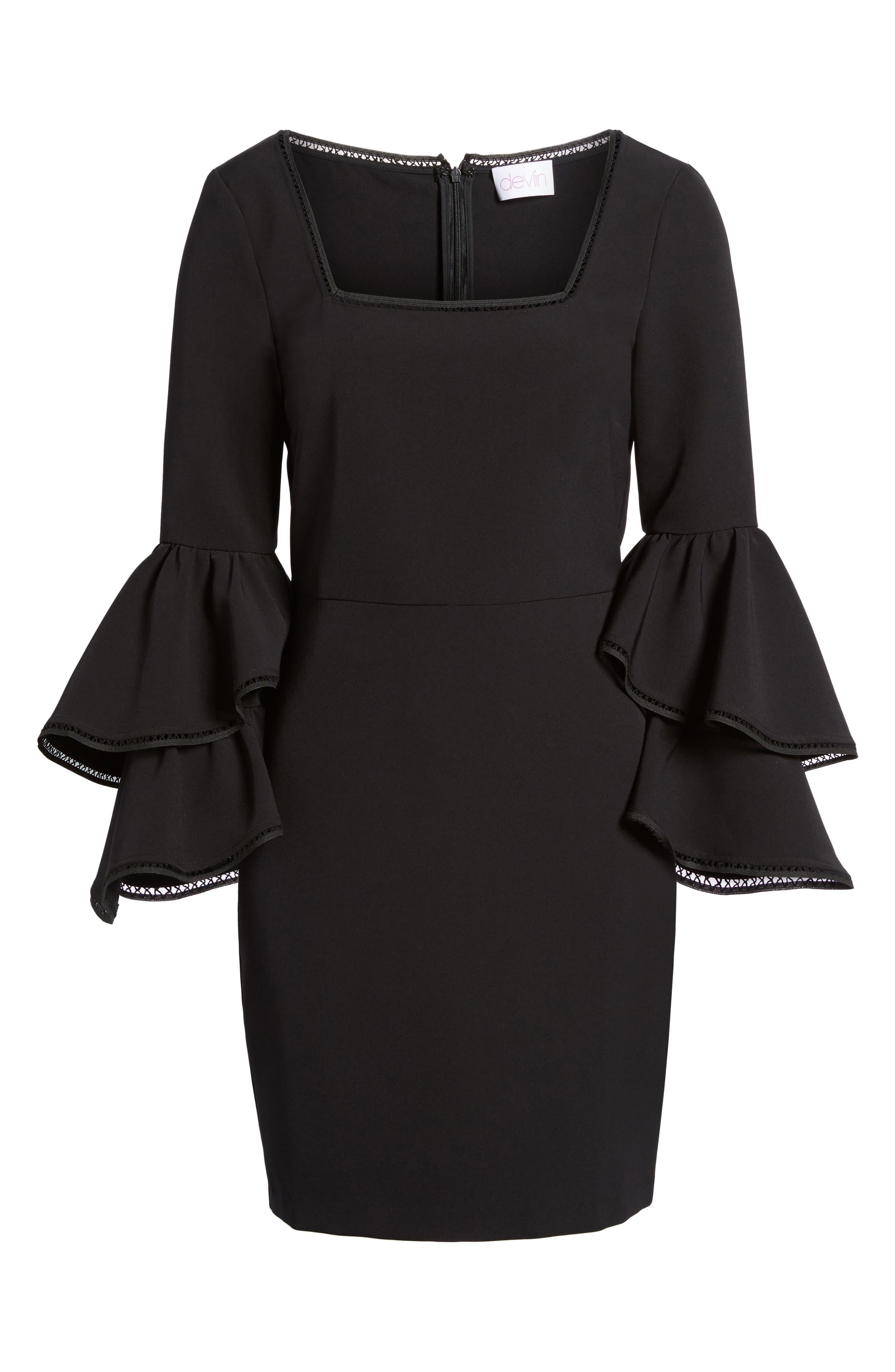 Emmie Ruffle Sleeve Sheath Dress,                             Alternate thumbnail 6, color,                             001