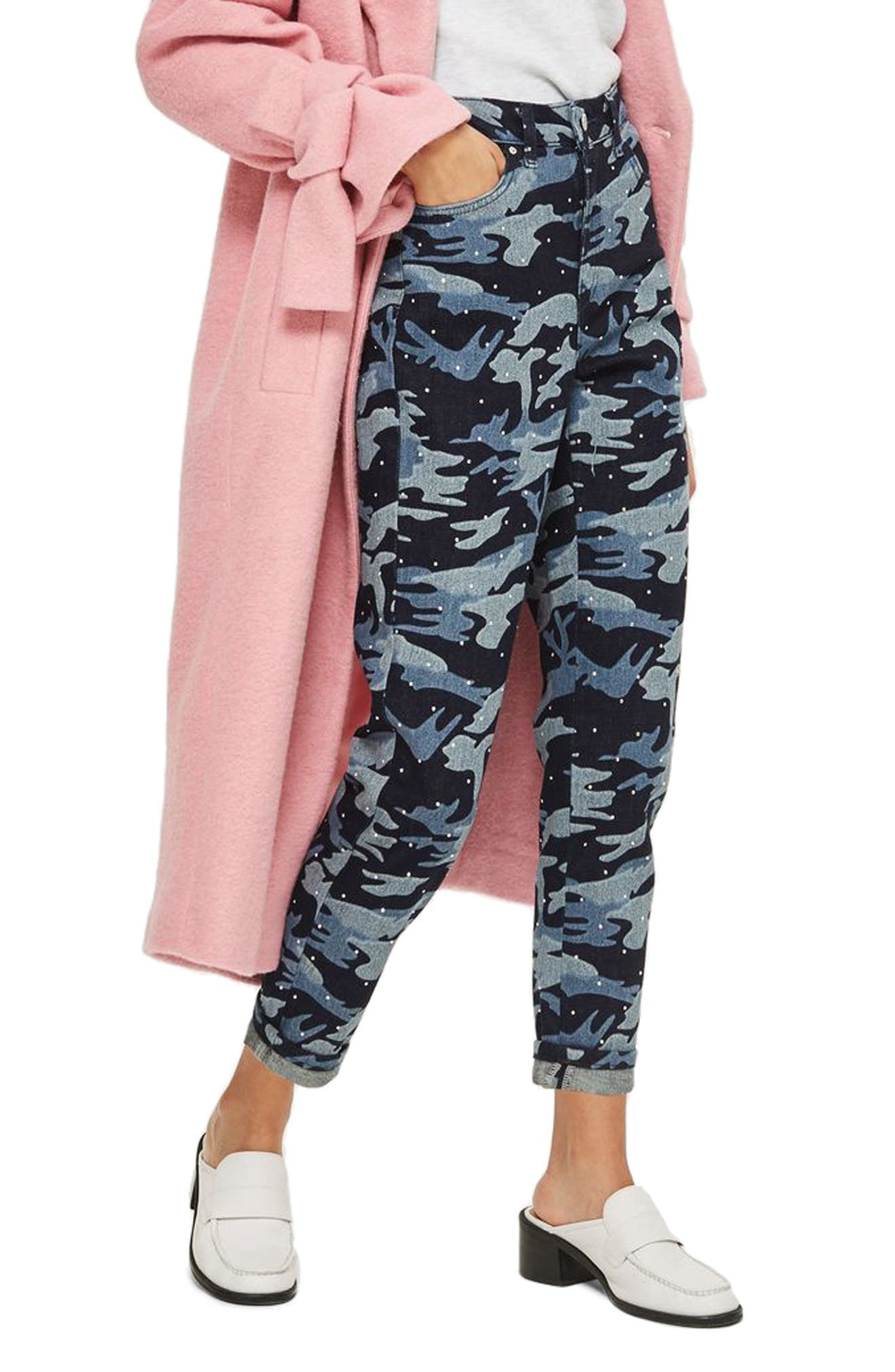 TOPSHOP,                             Camo Diamante Mom Jeans,                             Alternate thumbnail 3, color,                             402