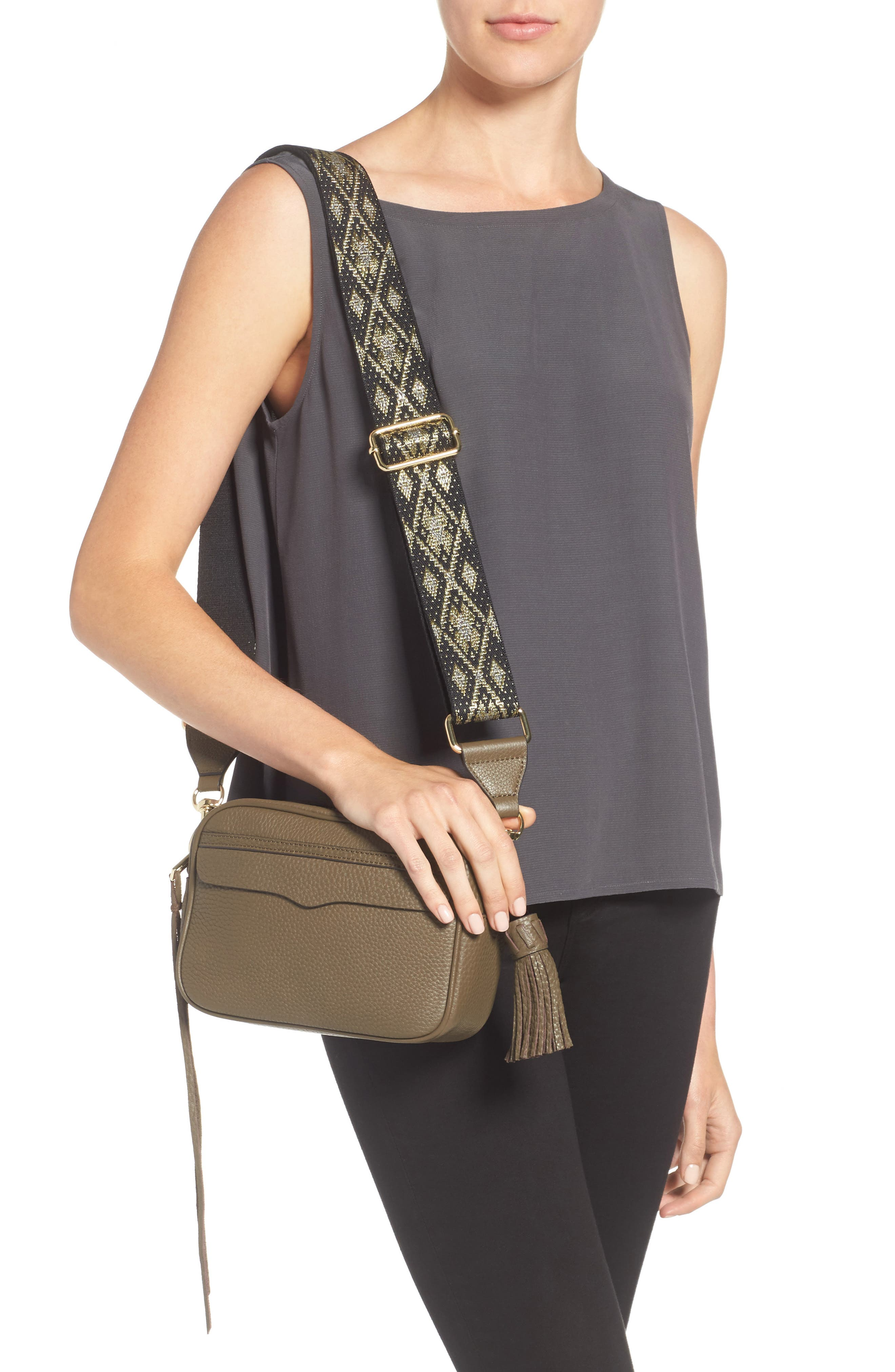 Leather Camera Bag with Guitar Strap,                             Alternate thumbnail 6, color,