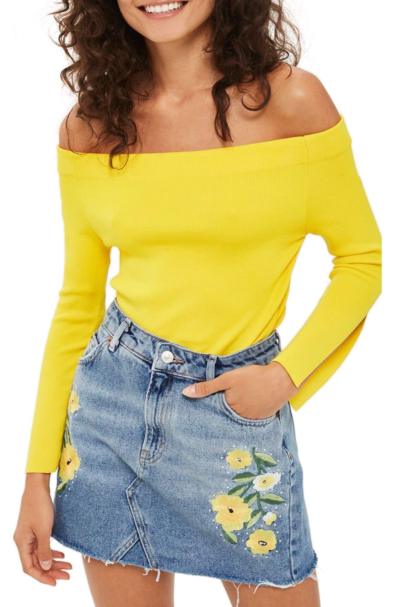 Floral Stud Denim Miniskirt,                         Main,                         color, 400