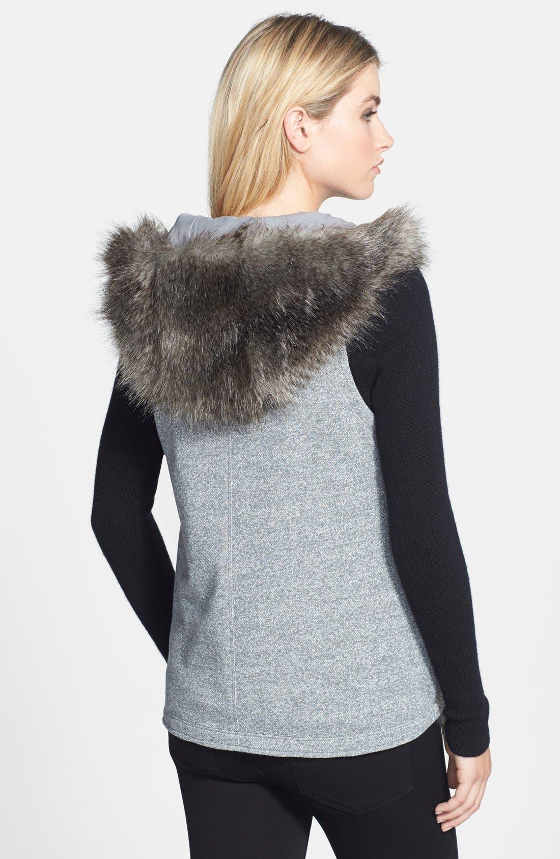 Hooded Faux Fur Vest,                             Alternate thumbnail 3, color,                             020