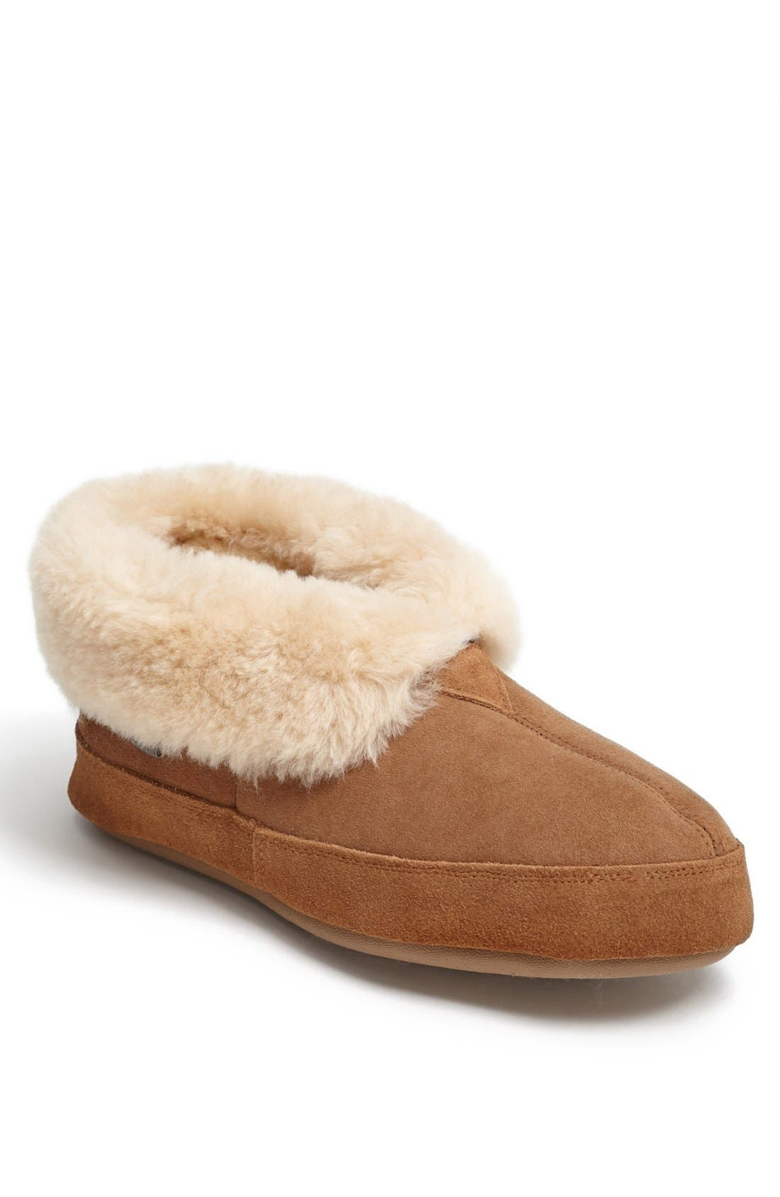 Genuine Sheepskin Slipper,                             Main thumbnail 1, color,                             WALNUT
