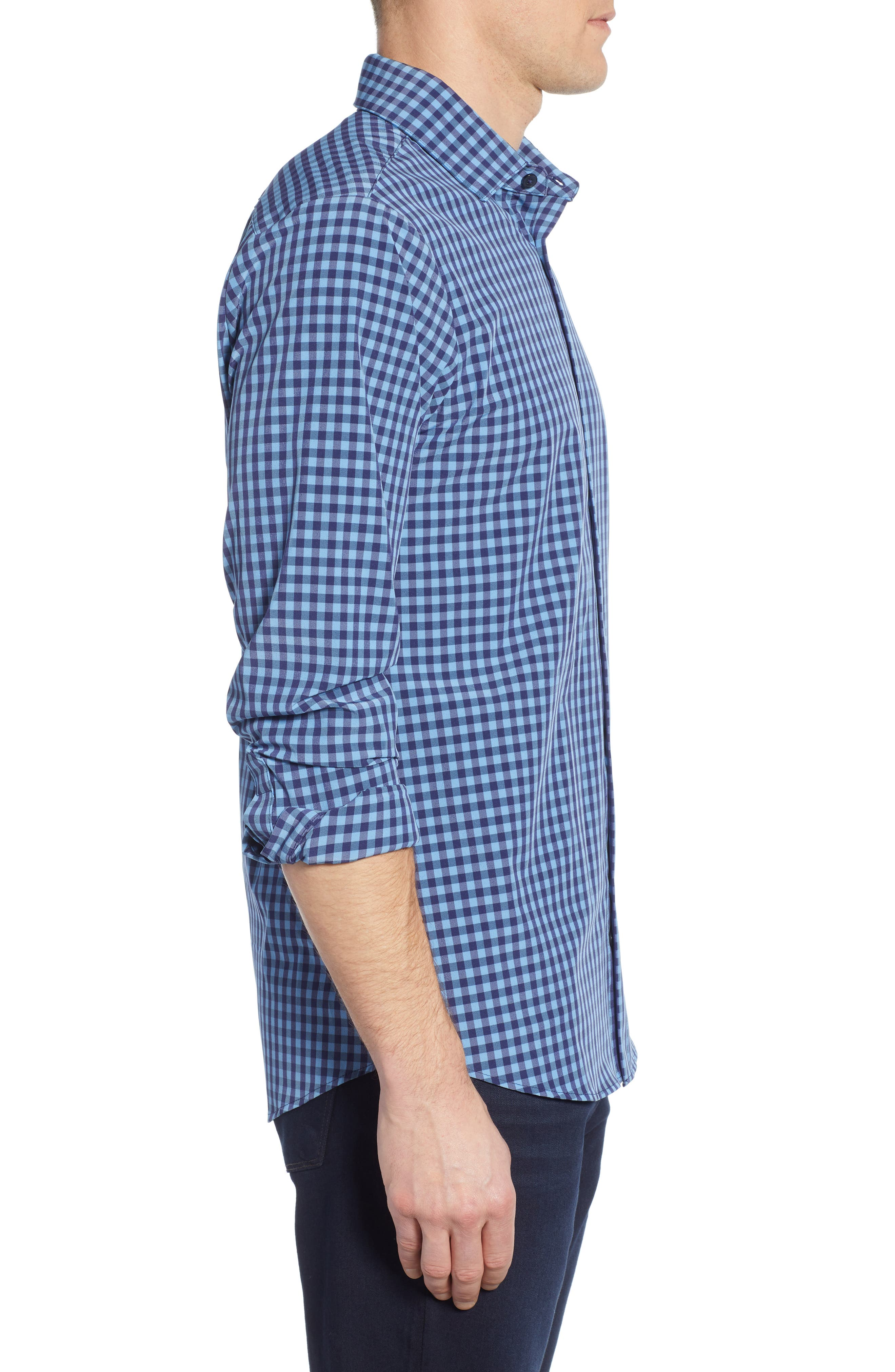 Whitten Regular Fit Check Performance Sport Shirt,                             Alternate thumbnail 4, color,                             BLUE