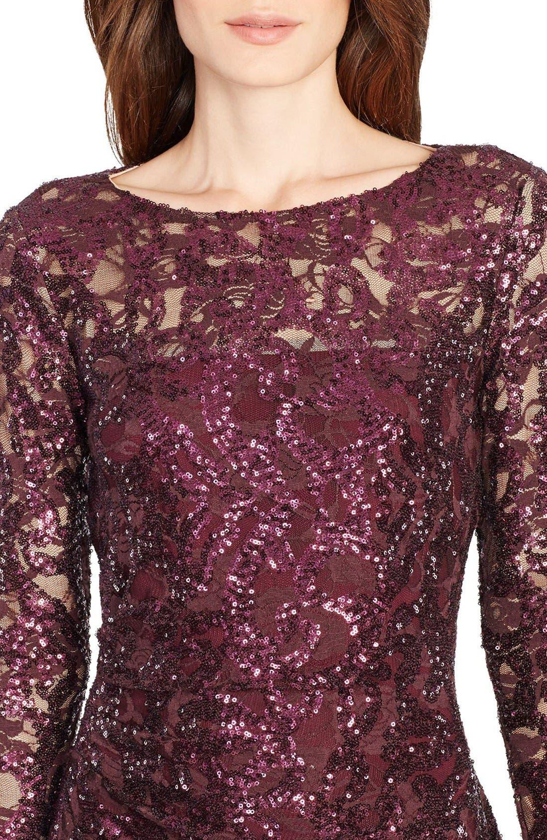 Sequin Lace Sheath Dress,                             Alternate thumbnail 3, color,                             600