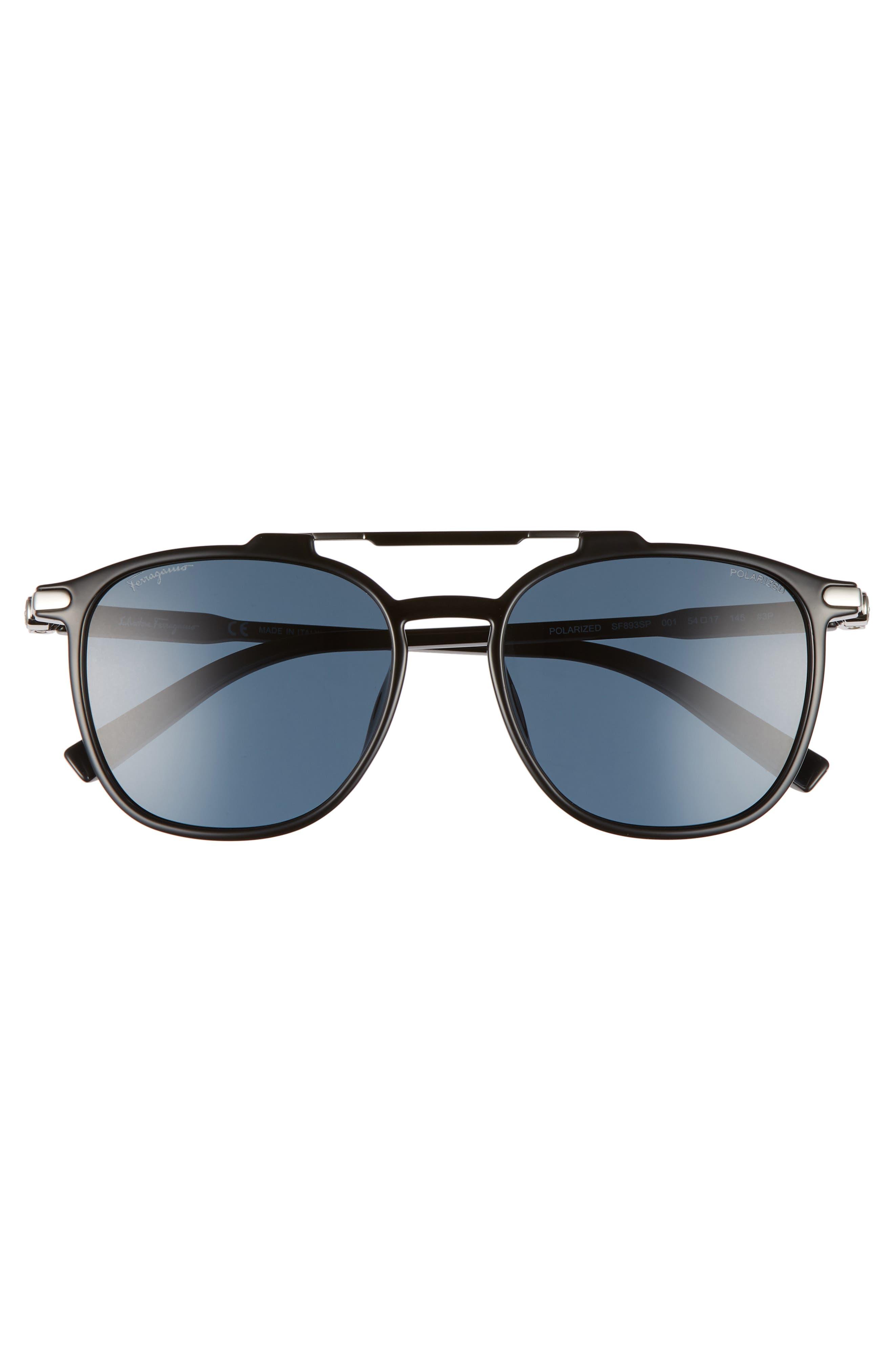 Double Gancio 54mm Polarized Sunglasses,                             Alternate thumbnail 2, color,                             BLACK