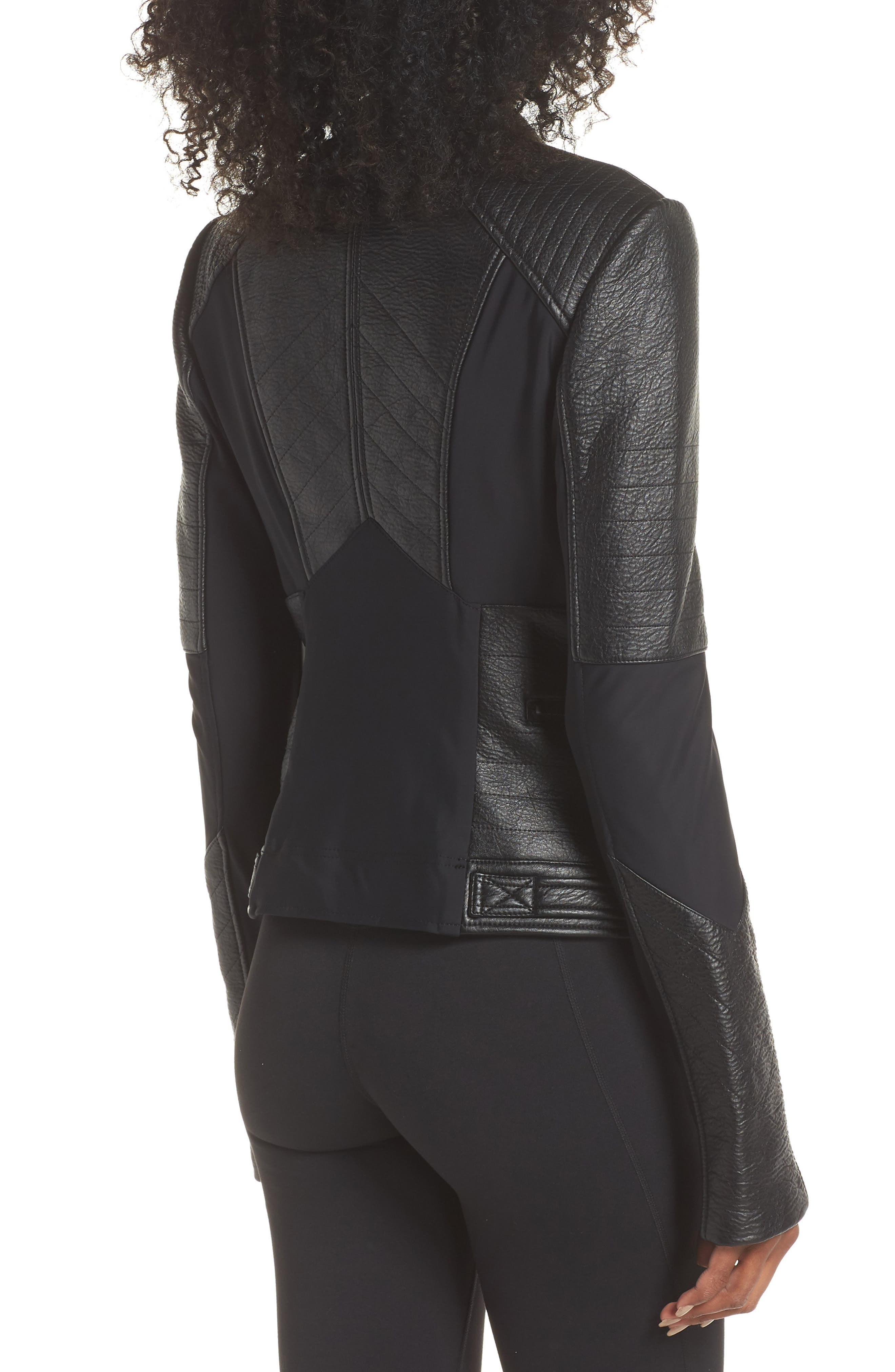 Ryder Faux Leather Moto Jacket,                             Alternate thumbnail 2, color,                             BLACK/ GREY