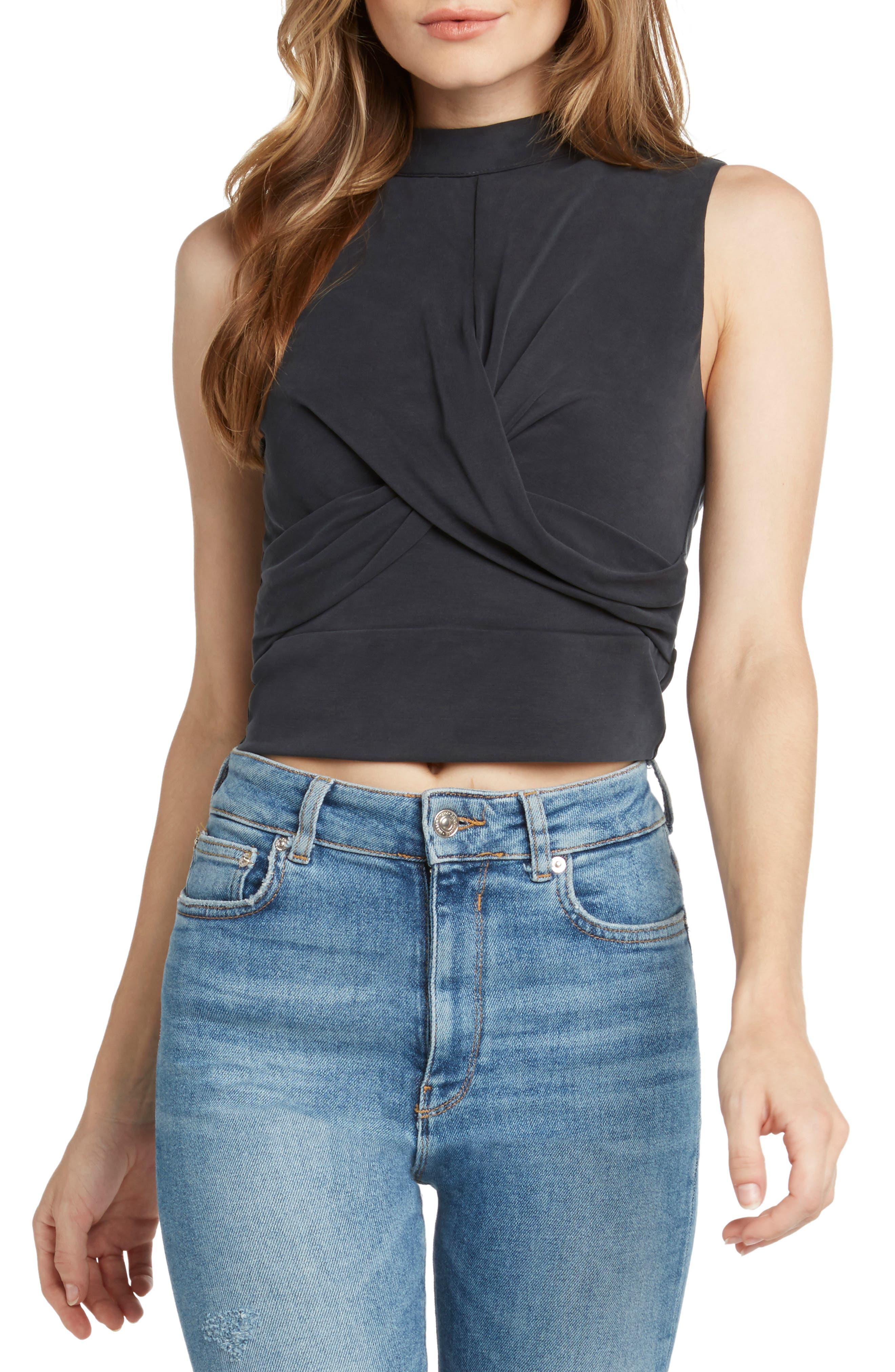 Twist Front Sleeveless Crop Top,                             Main thumbnail 1, color,                             BLACK