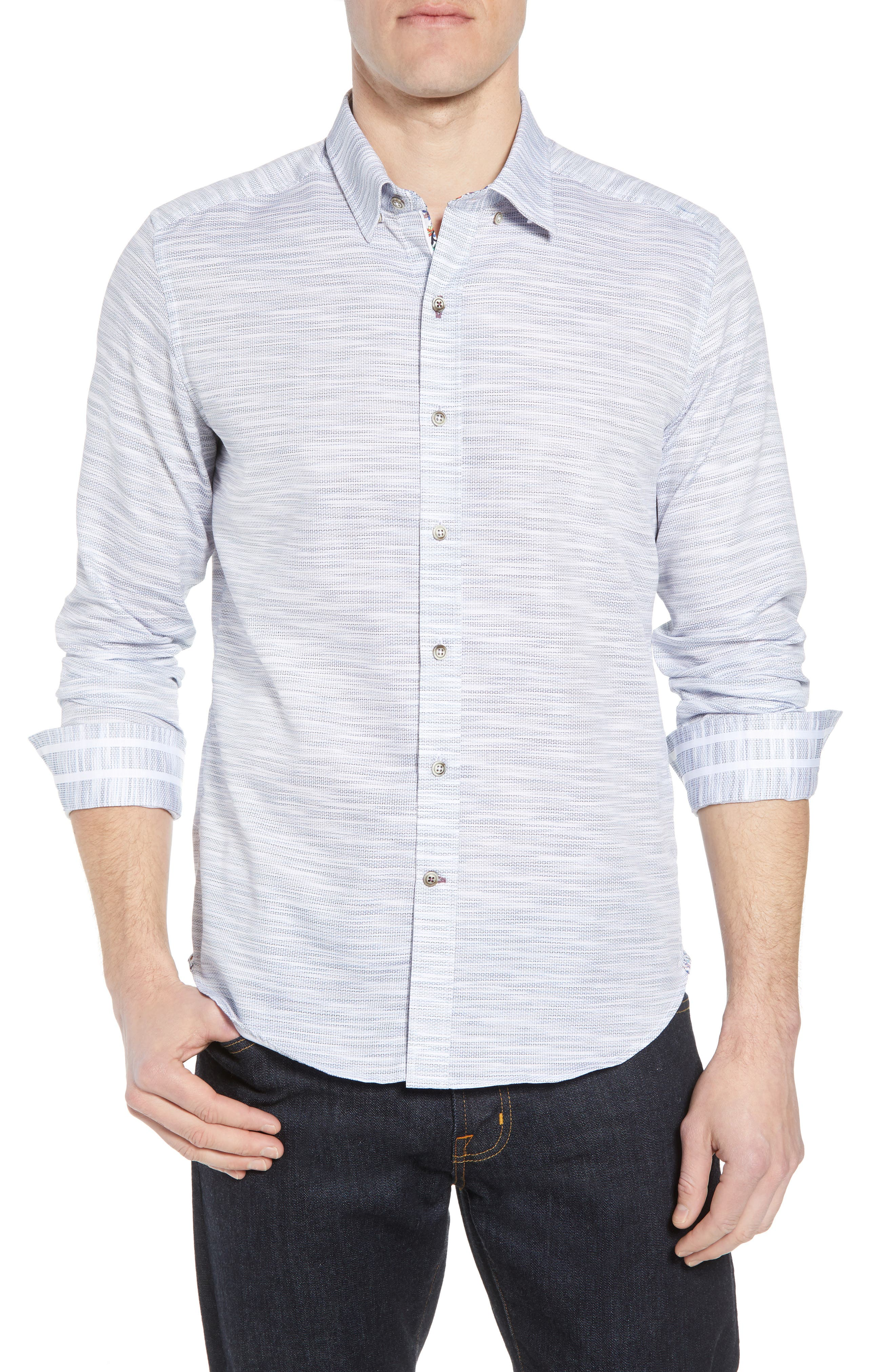 Tully Tailored Fit Sport Shirt,                         Main,                         color, WHITE