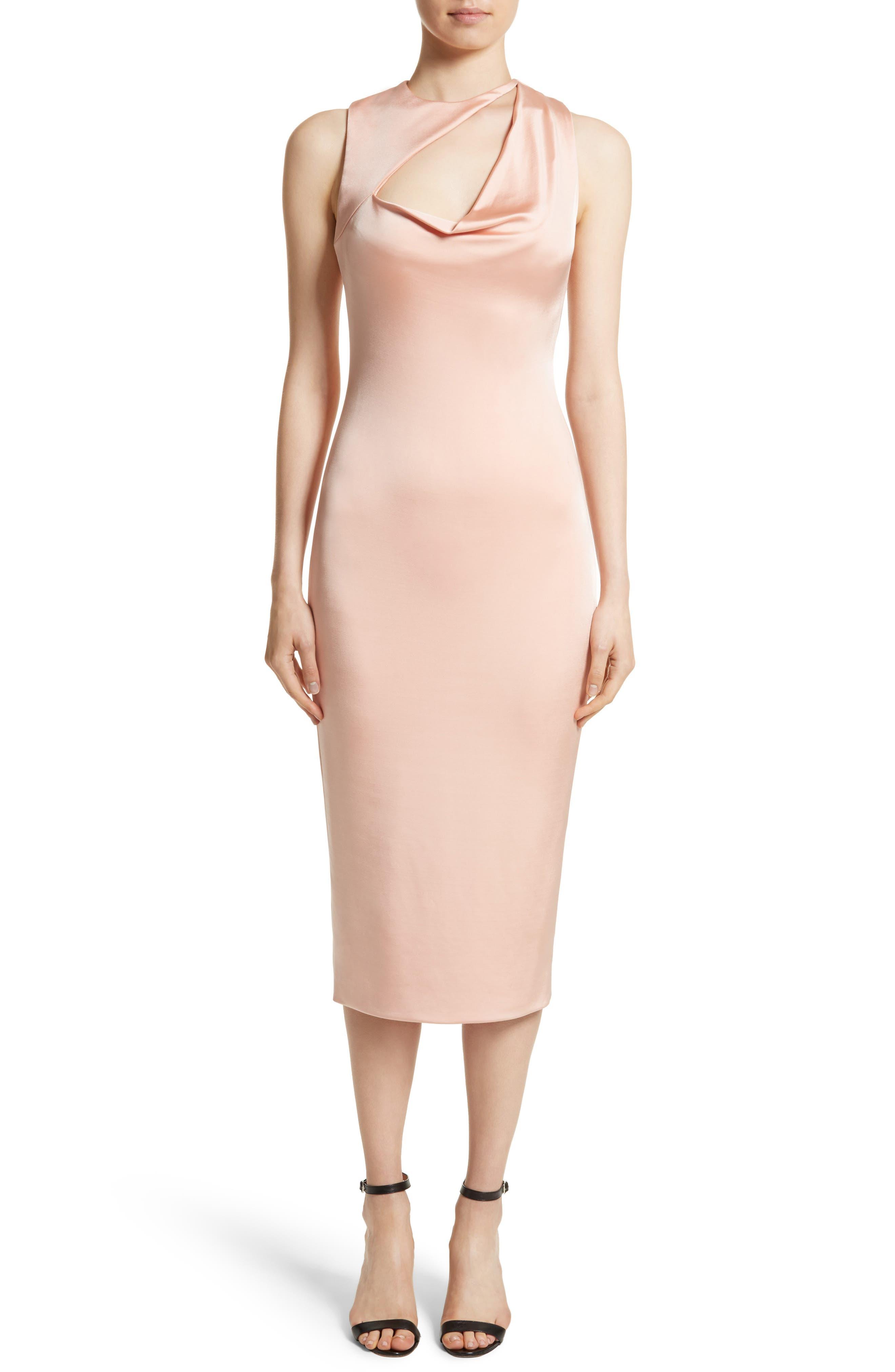 Asymmetrical Cowl Neck Pencil Dress,                             Alternate thumbnail 5, color,                             406