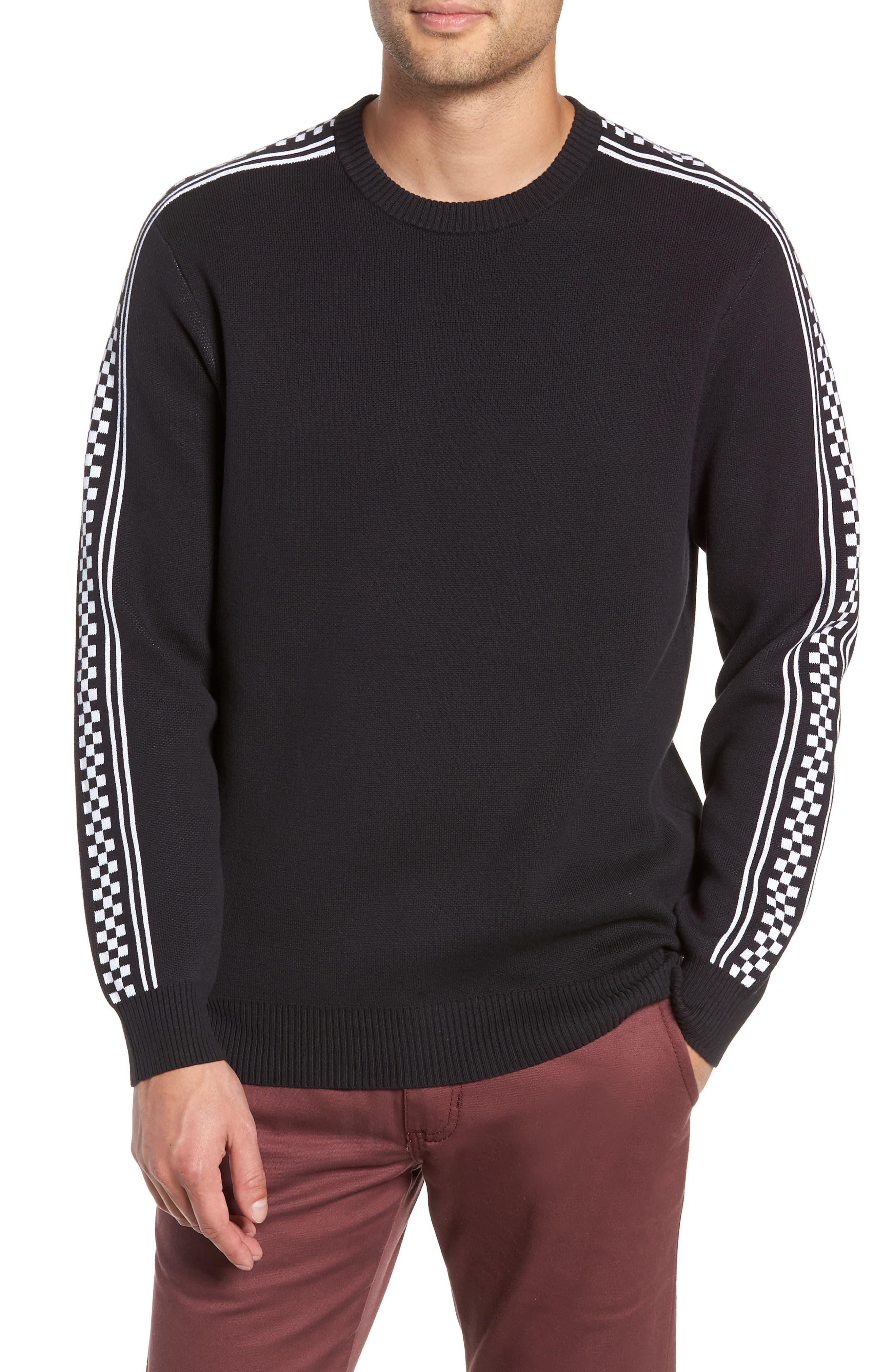 Check Yo Sleeve Crewneck Sweater,                             Main thumbnail 1, color,                             001