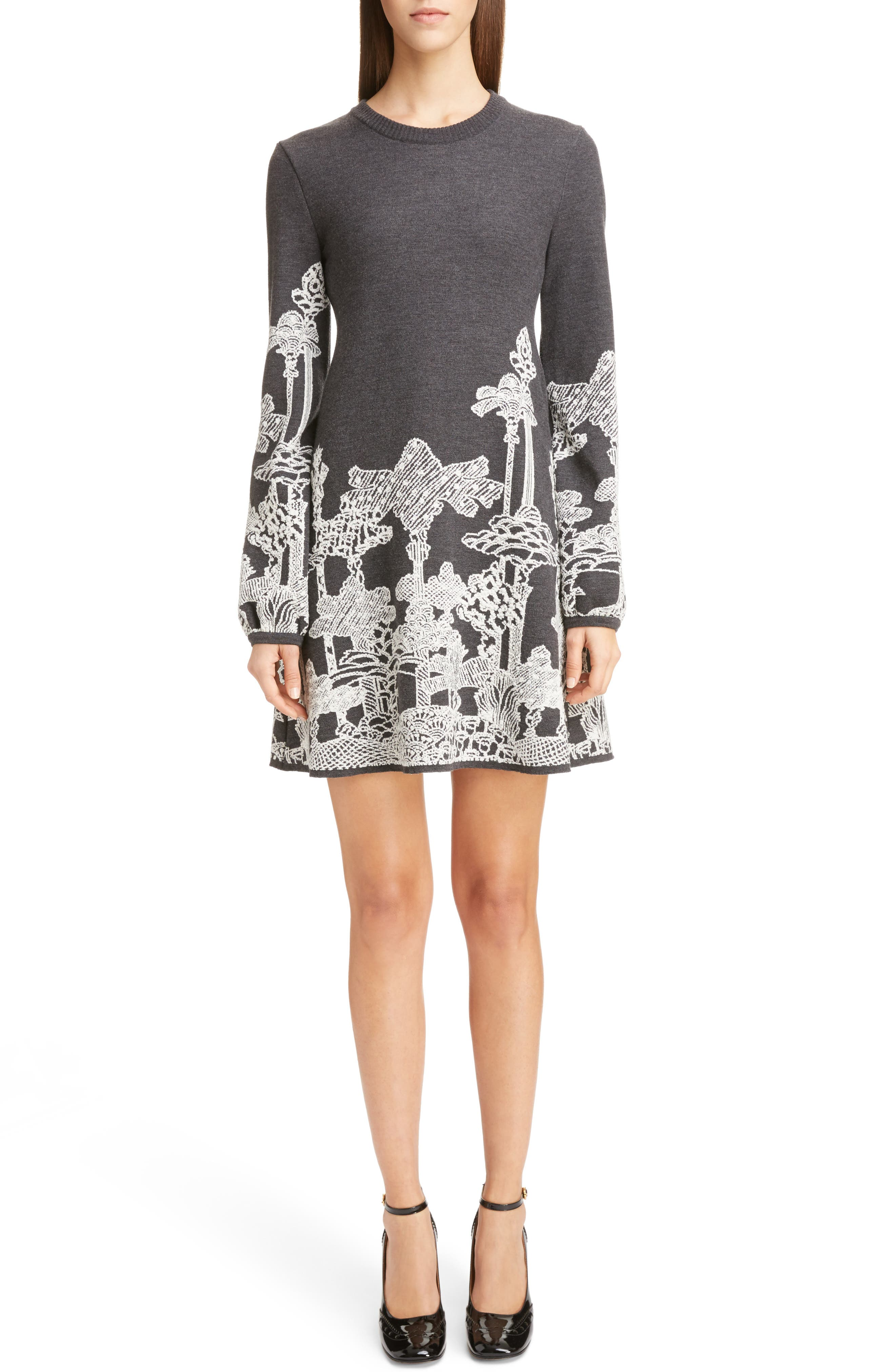 Merino Wool Dreamscape Jacquard Dress,                             Main thumbnail 1, color,                             020