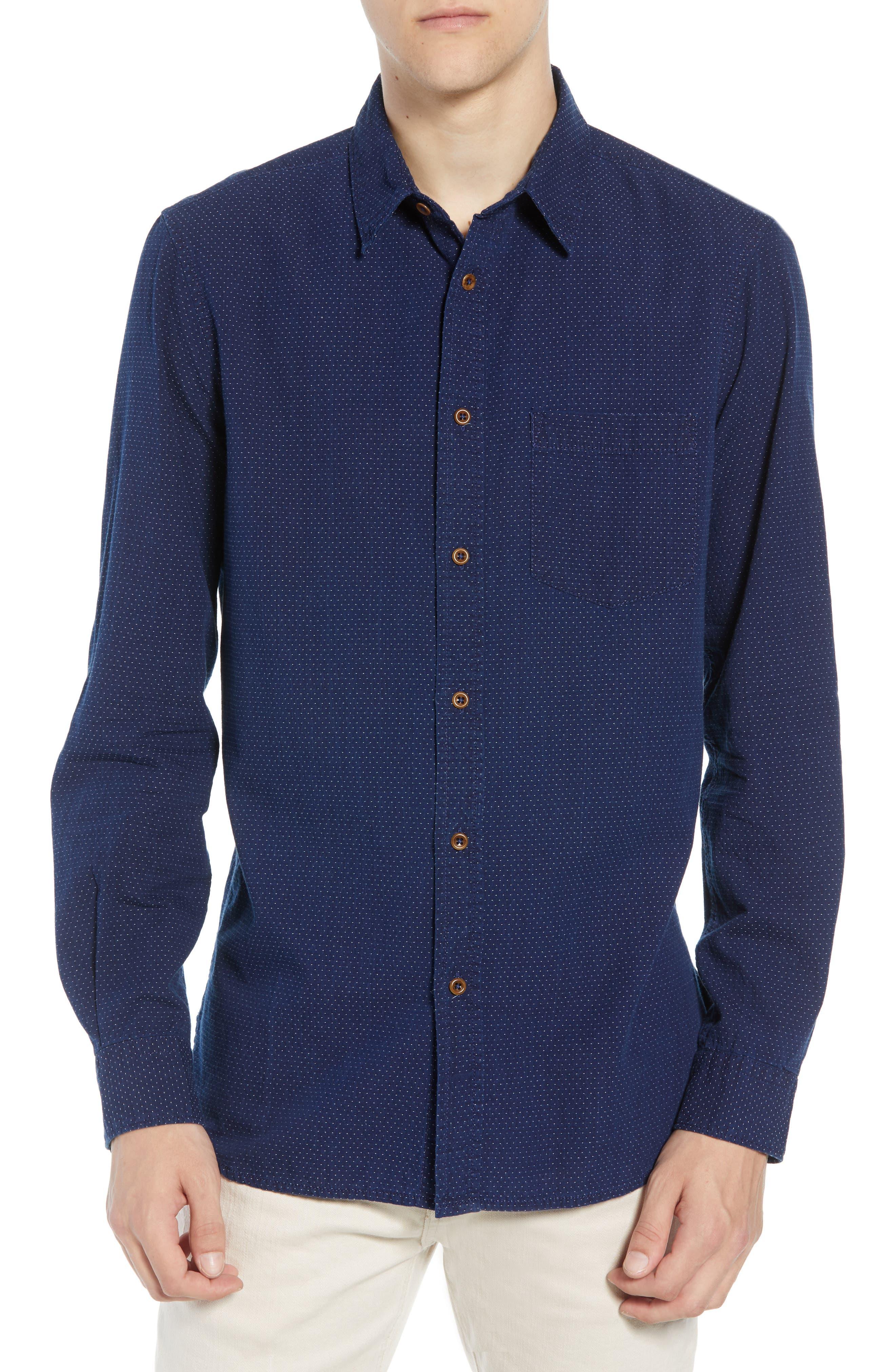 French Connection Indigo Dot Regular Fit Sport Shirt, Blue