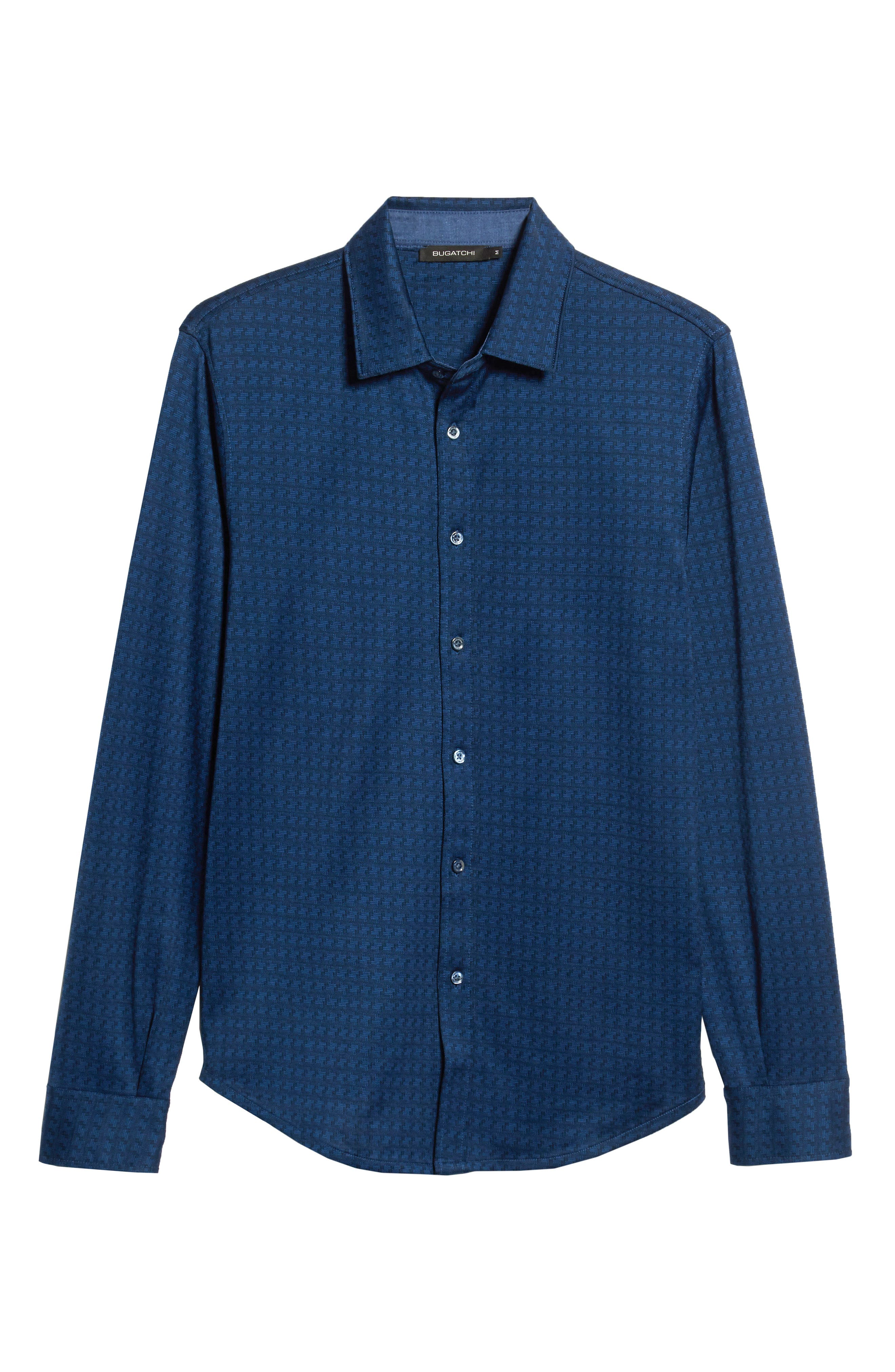 Shaped Fit Geo Knit Sport Shirt,                             Alternate thumbnail 5, color,                             MIDNIGHT