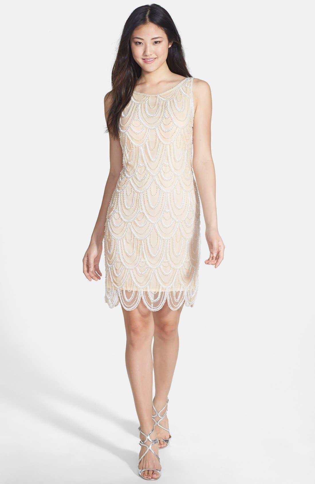 Embellished Mesh Sheath Dress,                             Alternate thumbnail 32, color,