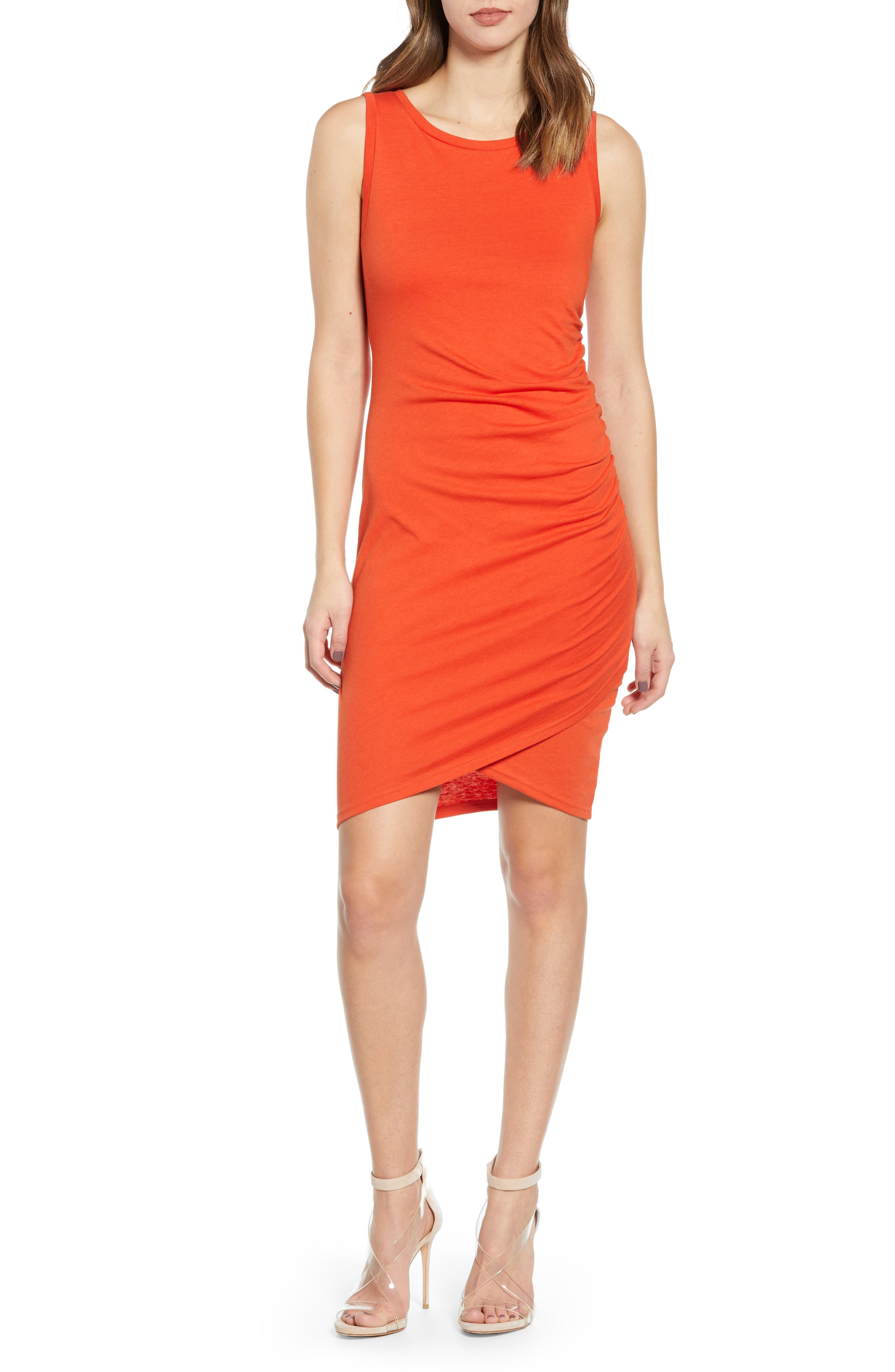 Leith Ruched Body-Con Tank Dress, Orange