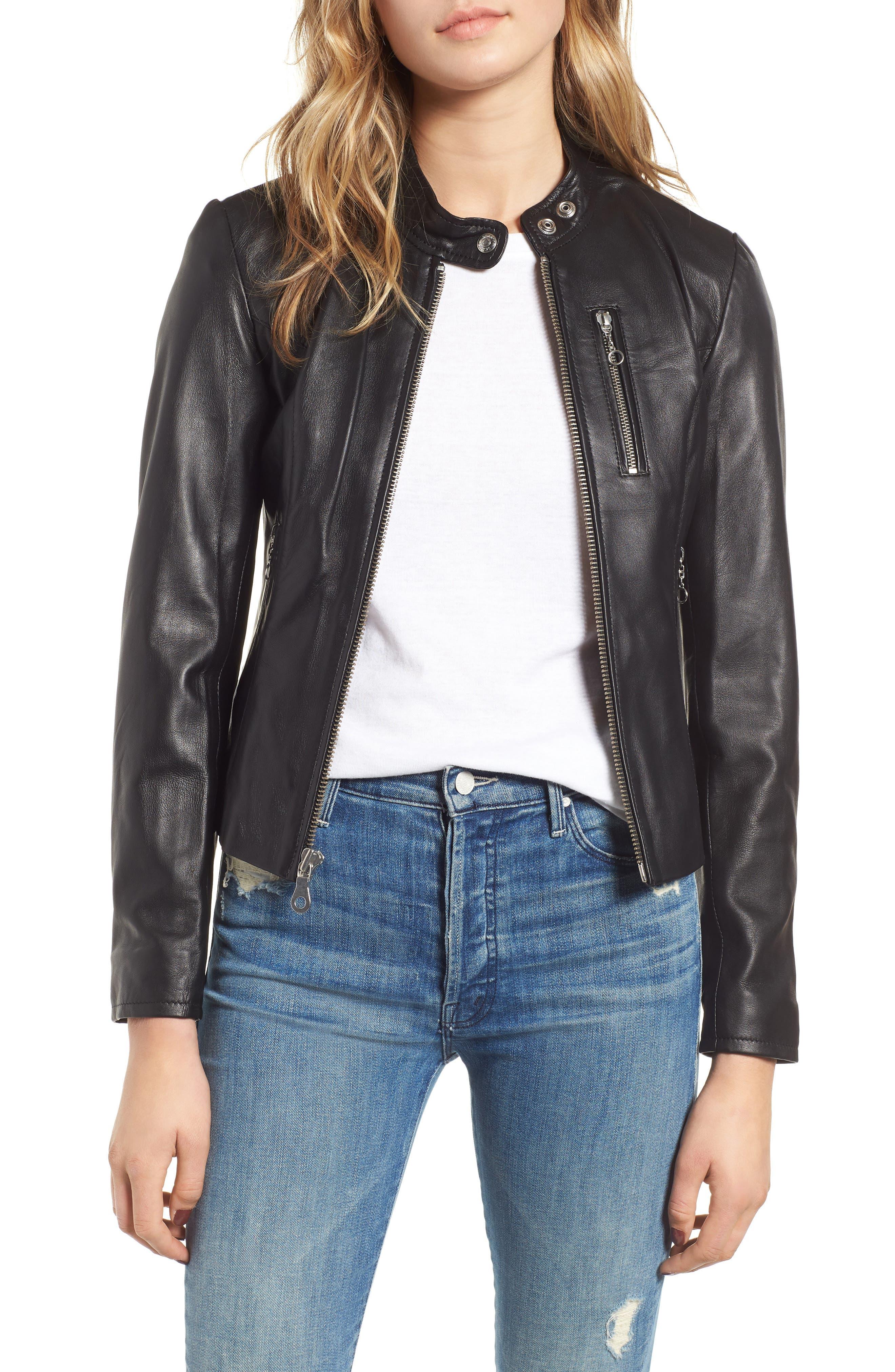 Lambskin Leather Moto Jacket in Black