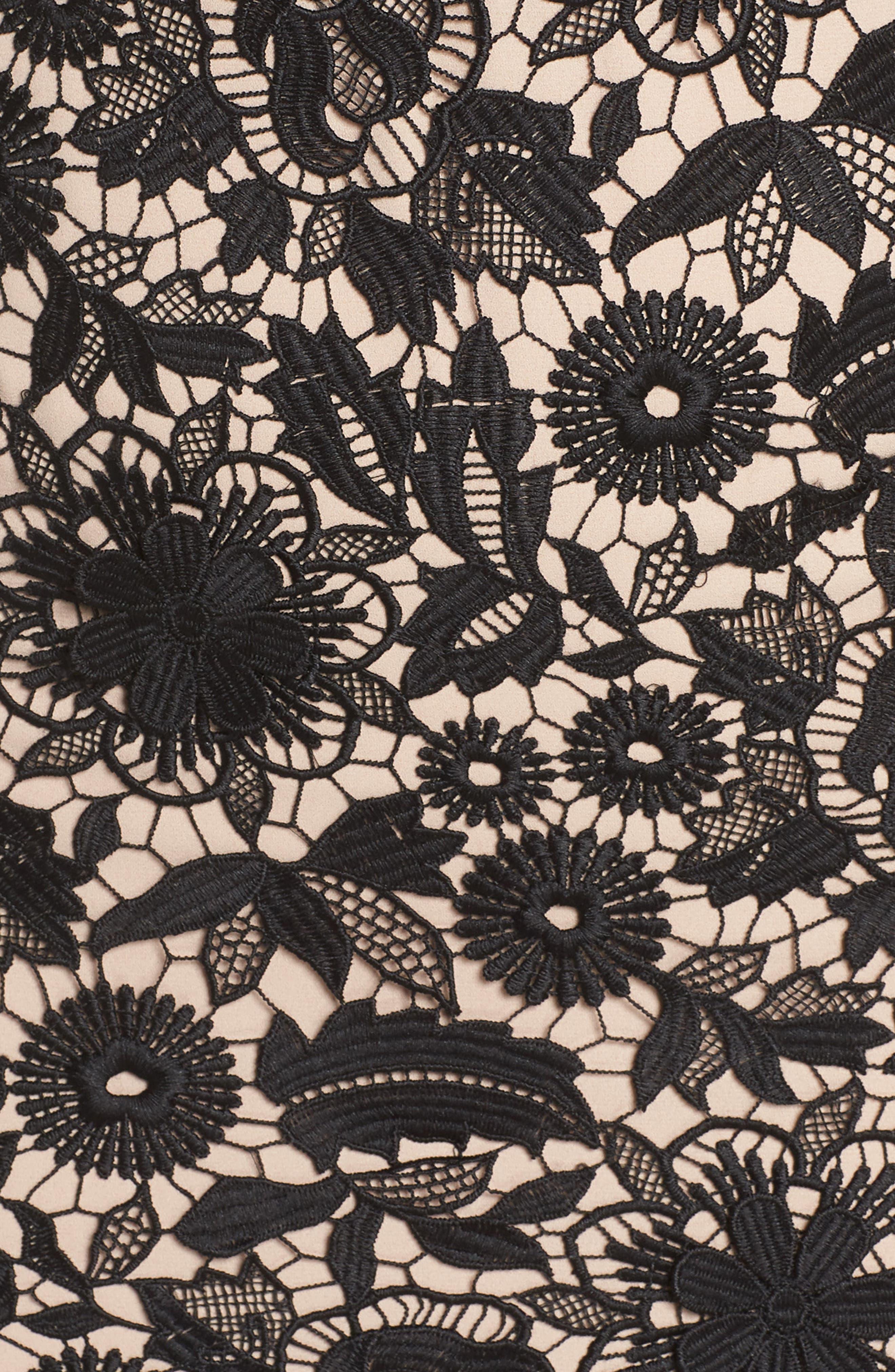 ML MONIQUE LHUILLIER,                             3D Floral Lace Cocktail Dress,                             Alternate thumbnail 5, color,                             001