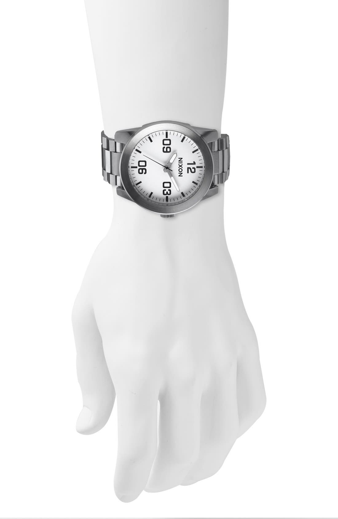 'The Corporal' Bracelet Watch, 48mm,                             Alternate thumbnail 2, color,                             WHITE/ SILVER