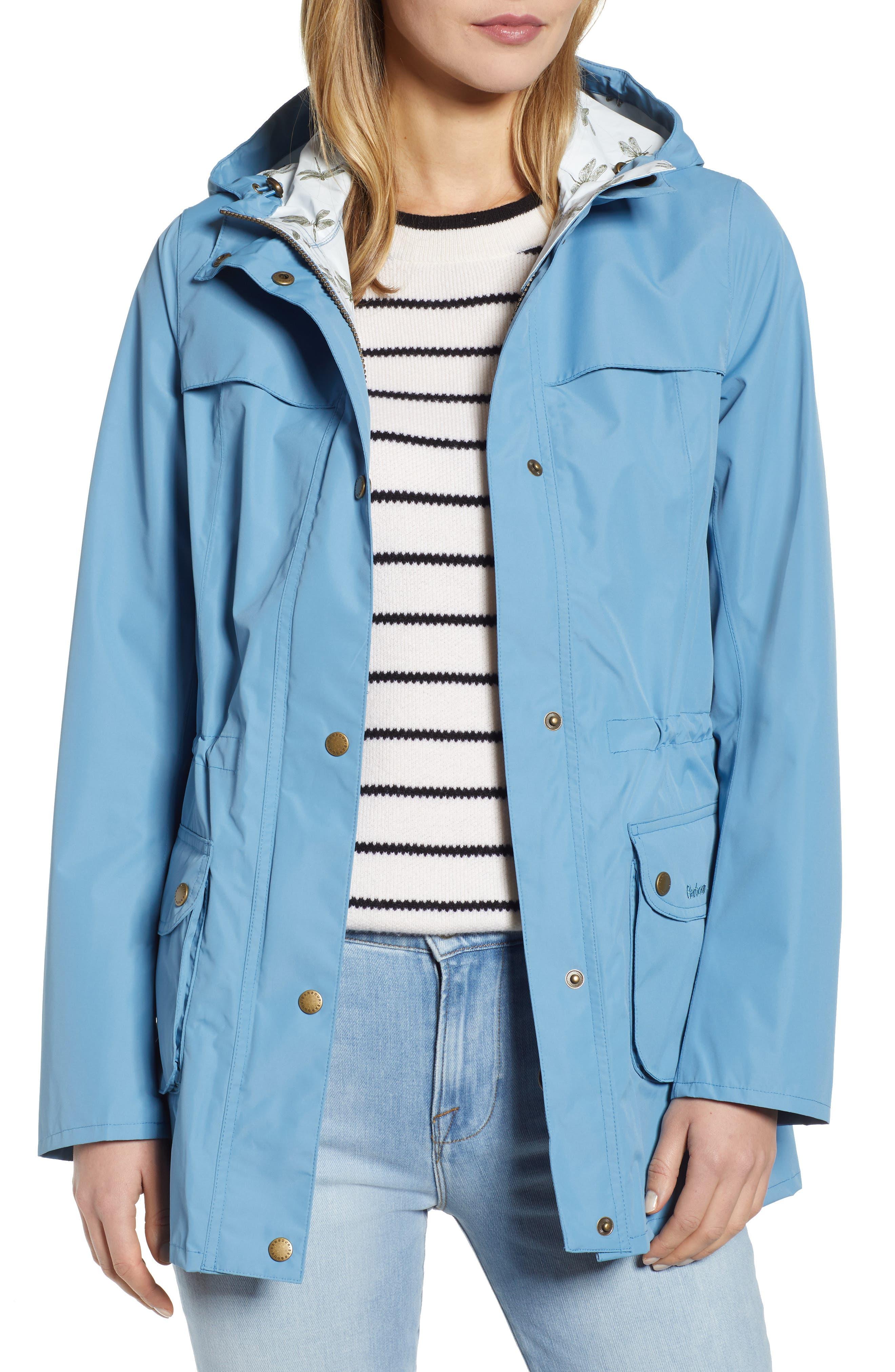 Barbour Aire Waterproof Hooded Jacket, US / 16 UK - Blue