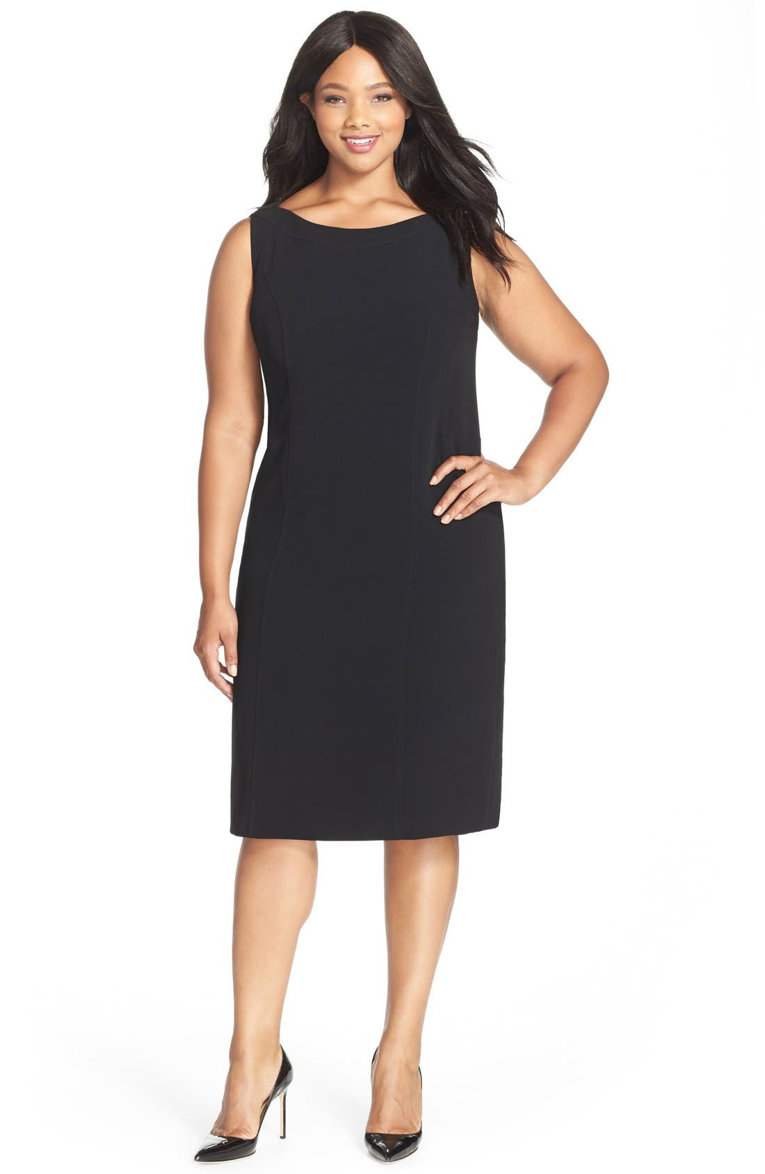 Sleeveless Suiting Sheath Dress,                         Main,                         color, BLACK
