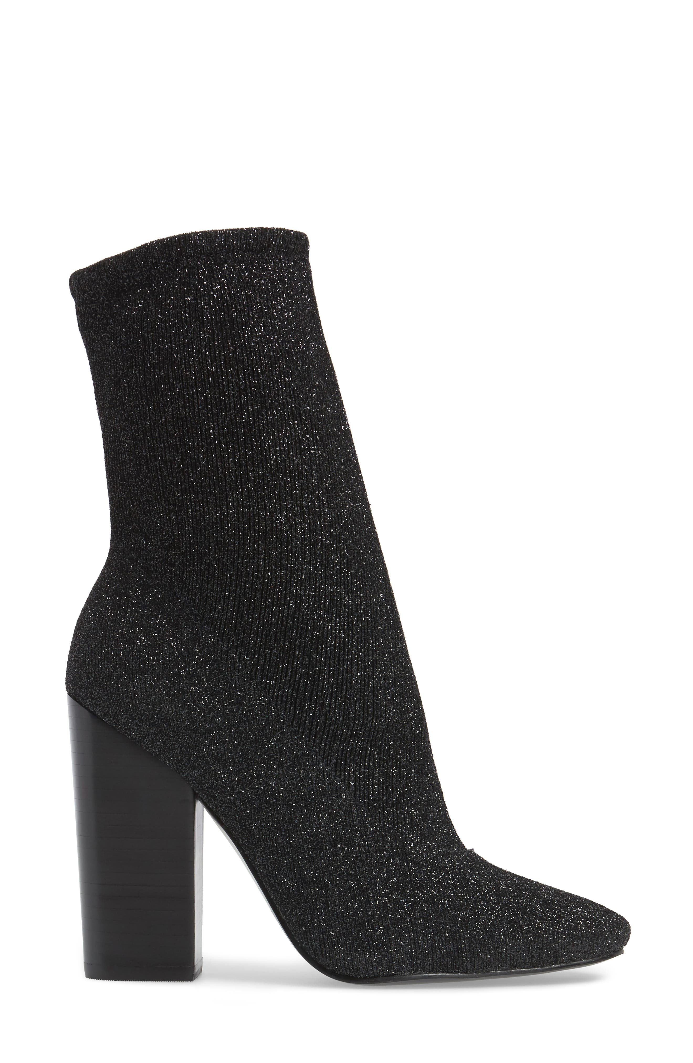 Hailey Glitter Sock Bootie,                             Alternate thumbnail 3, color,                             009