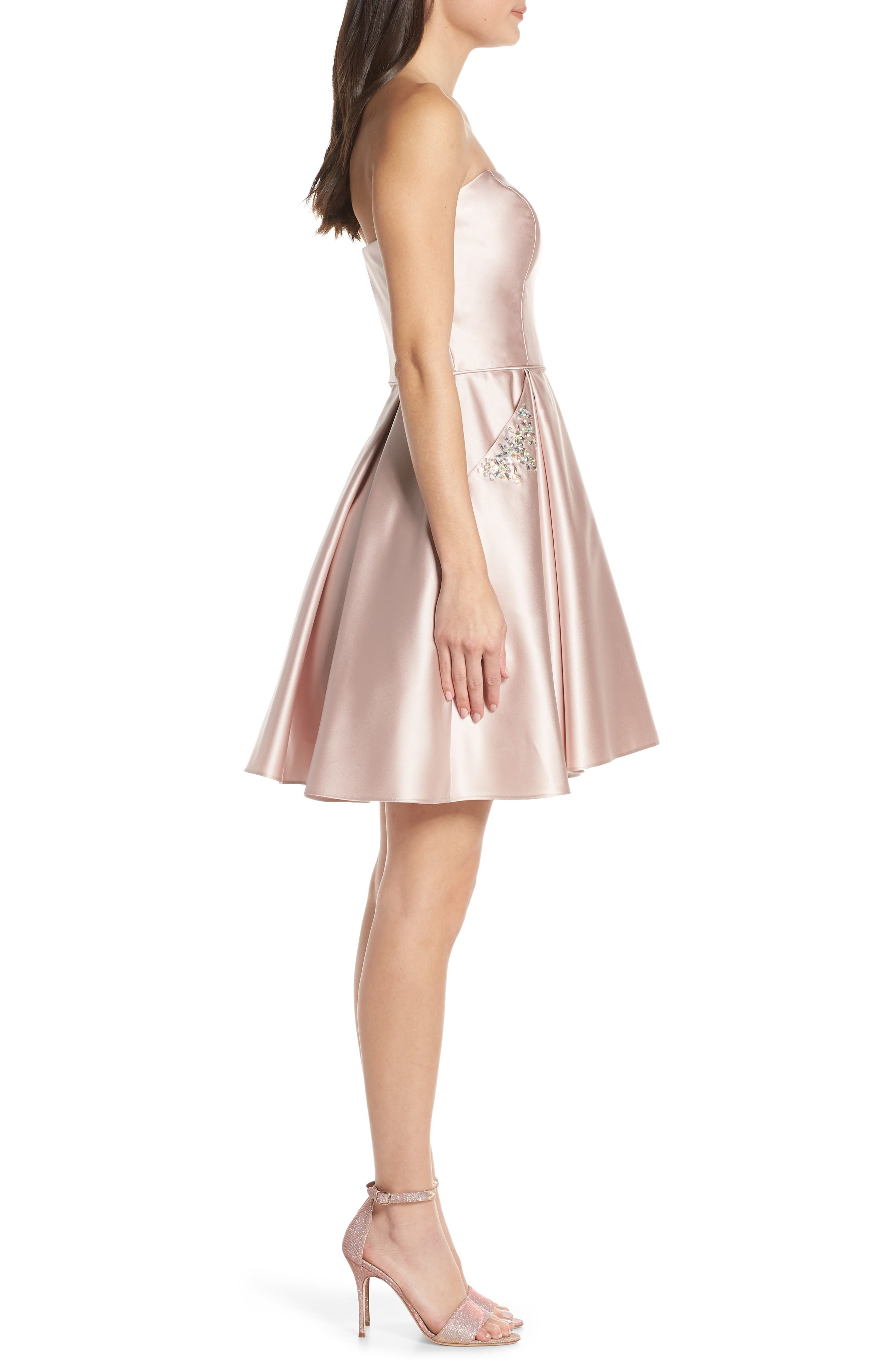 BLONDIE NITES,                             Embellished Satin Fit & Flare Dress,                             Alternate thumbnail 3, color,                             BEIGE