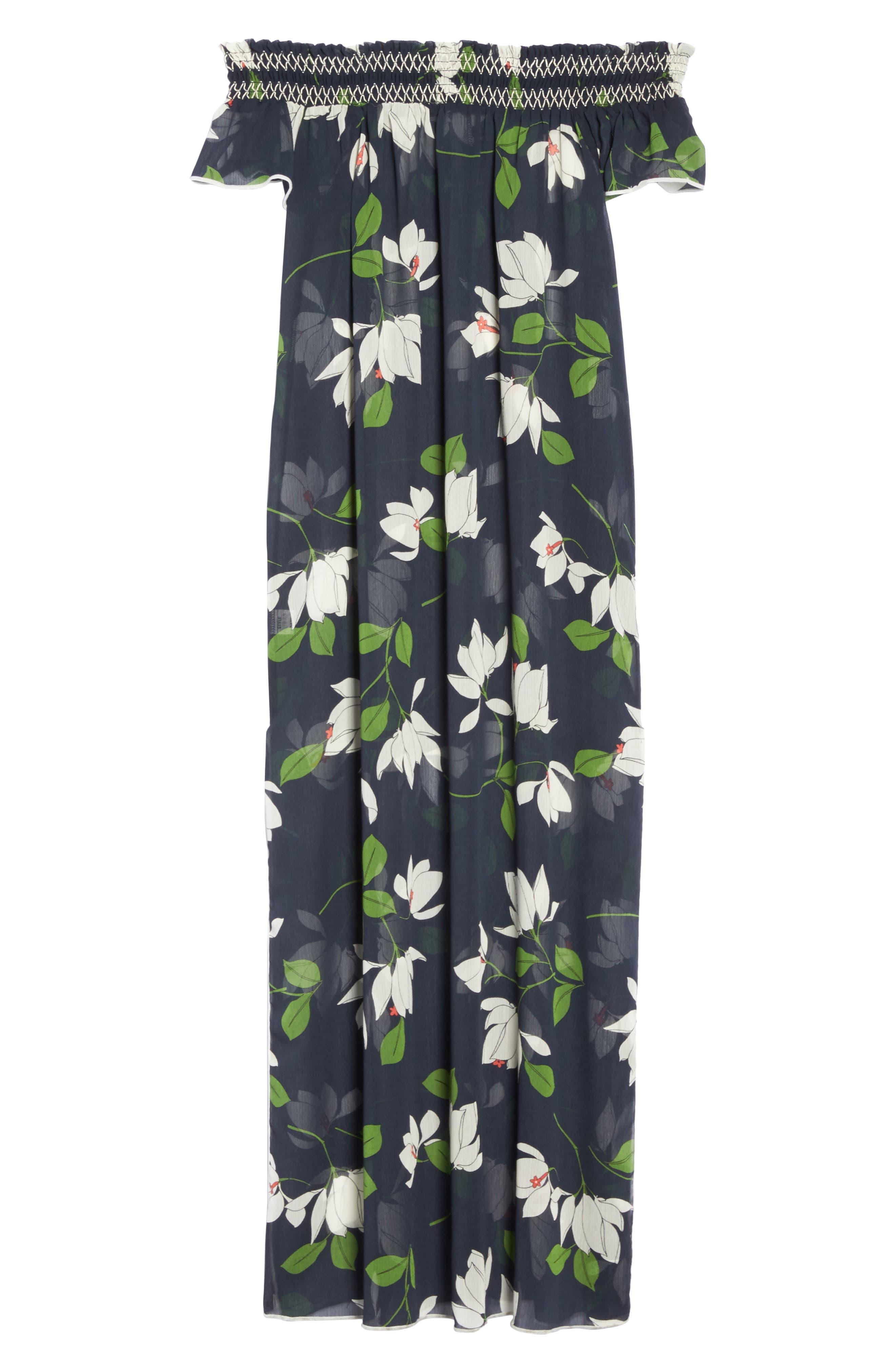 Sheer Off the Shoulder Cover-Up Dress,                             Alternate thumbnail 6, color,