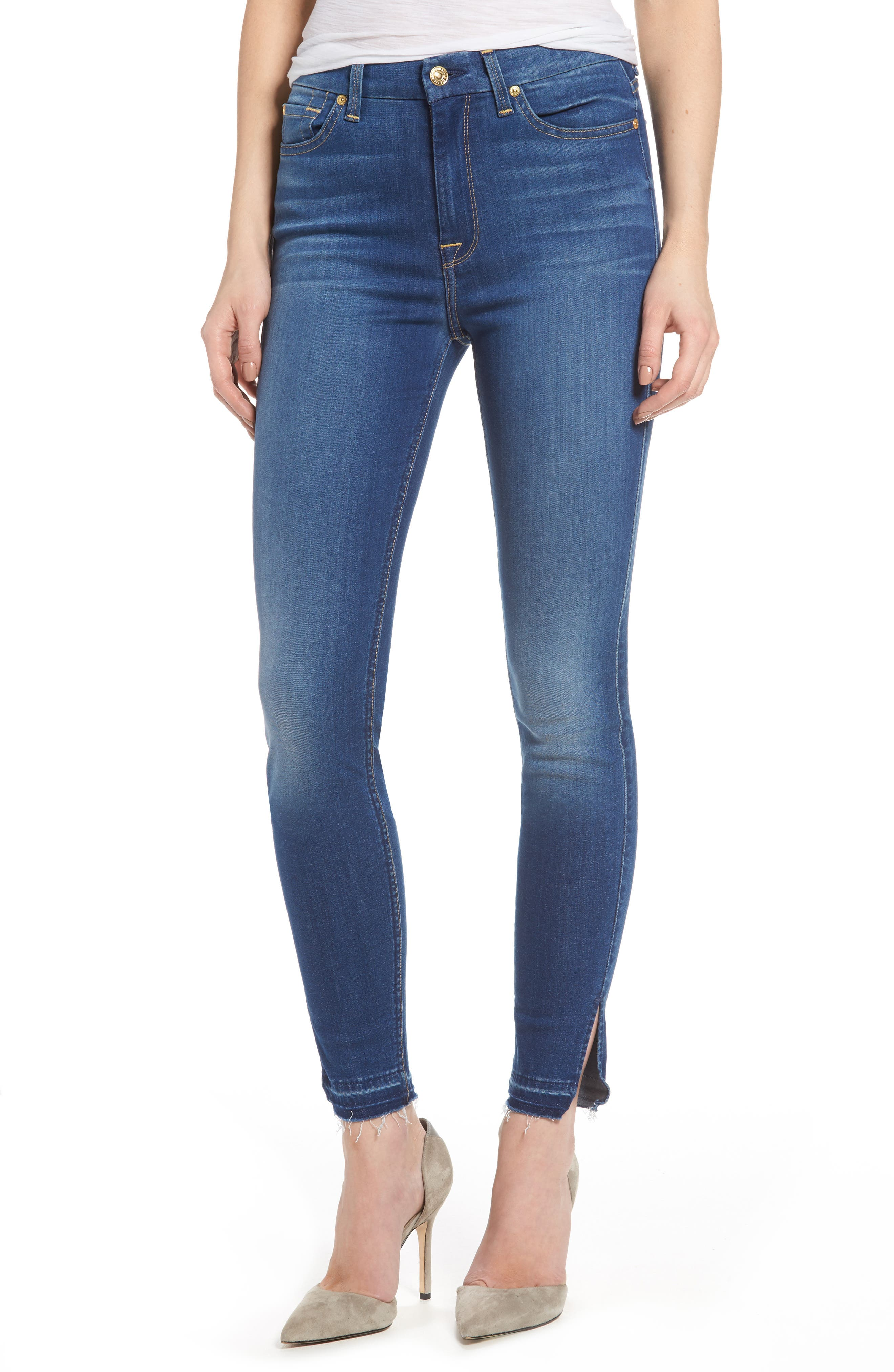 b(air) High Waist Split Hem Skinny Jeans,                         Main,                         color, 400