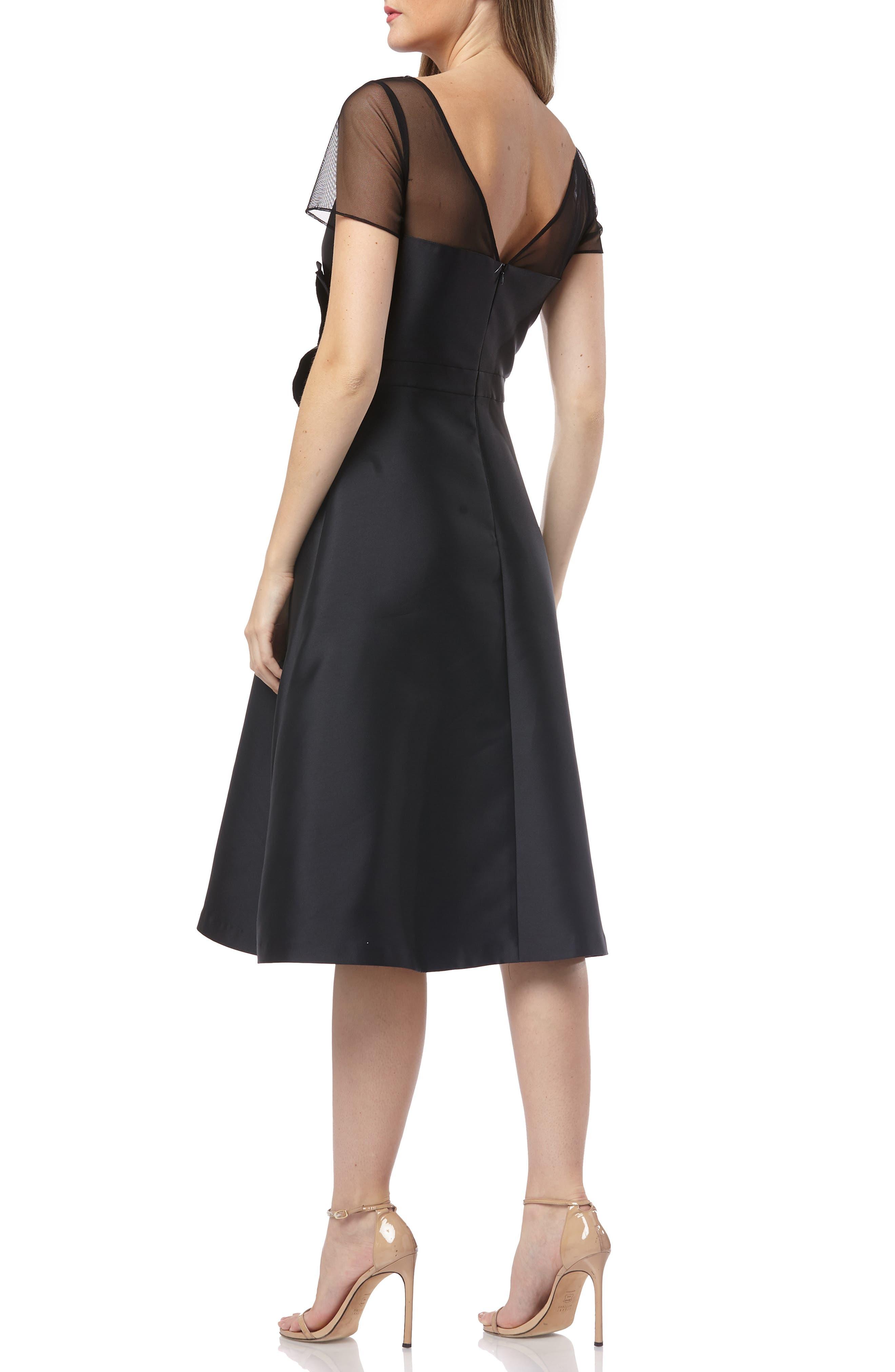 KAY UNGER,                             Illusion Yoke Fit & Flare Cocktail Dress,                             Alternate thumbnail 2, color,                             BLACK