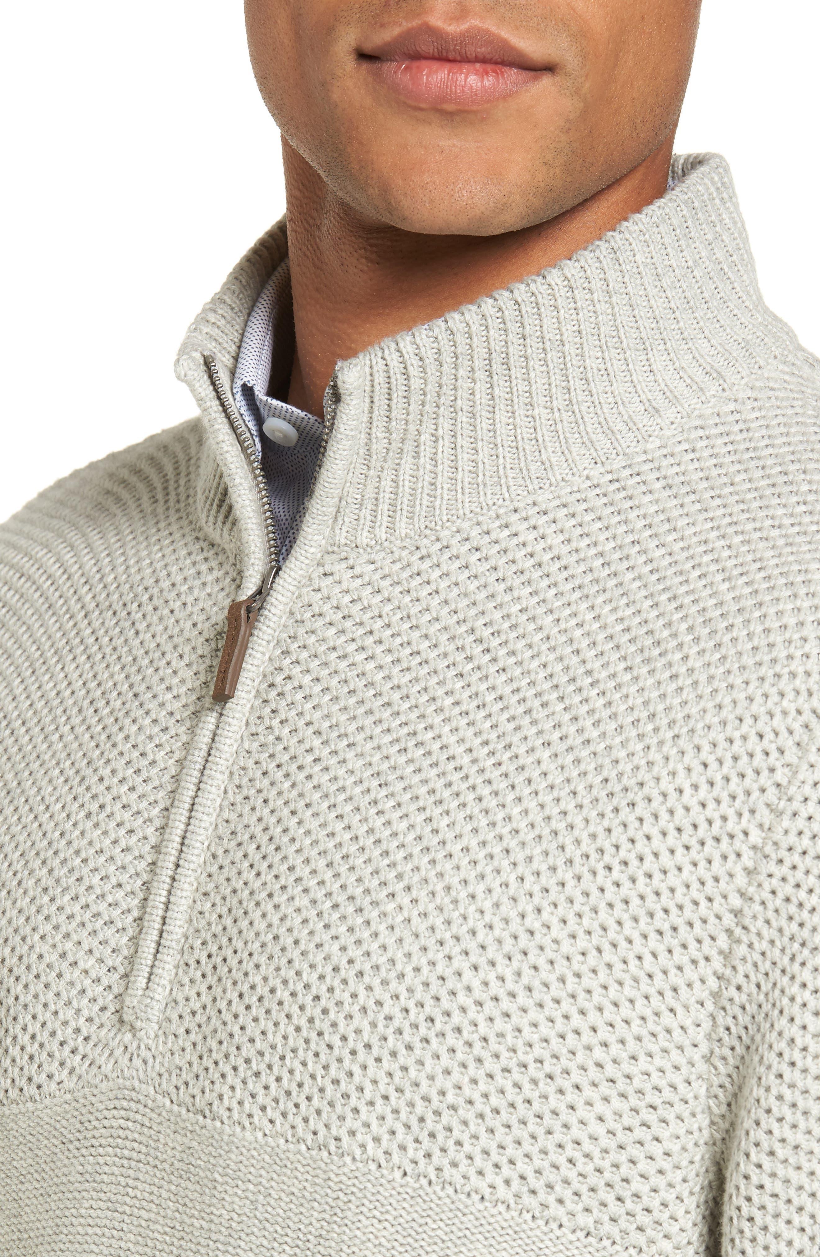 Texture Cotton & Cashmere Quarter Zip Sweater,                             Alternate thumbnail 5, color,                             050