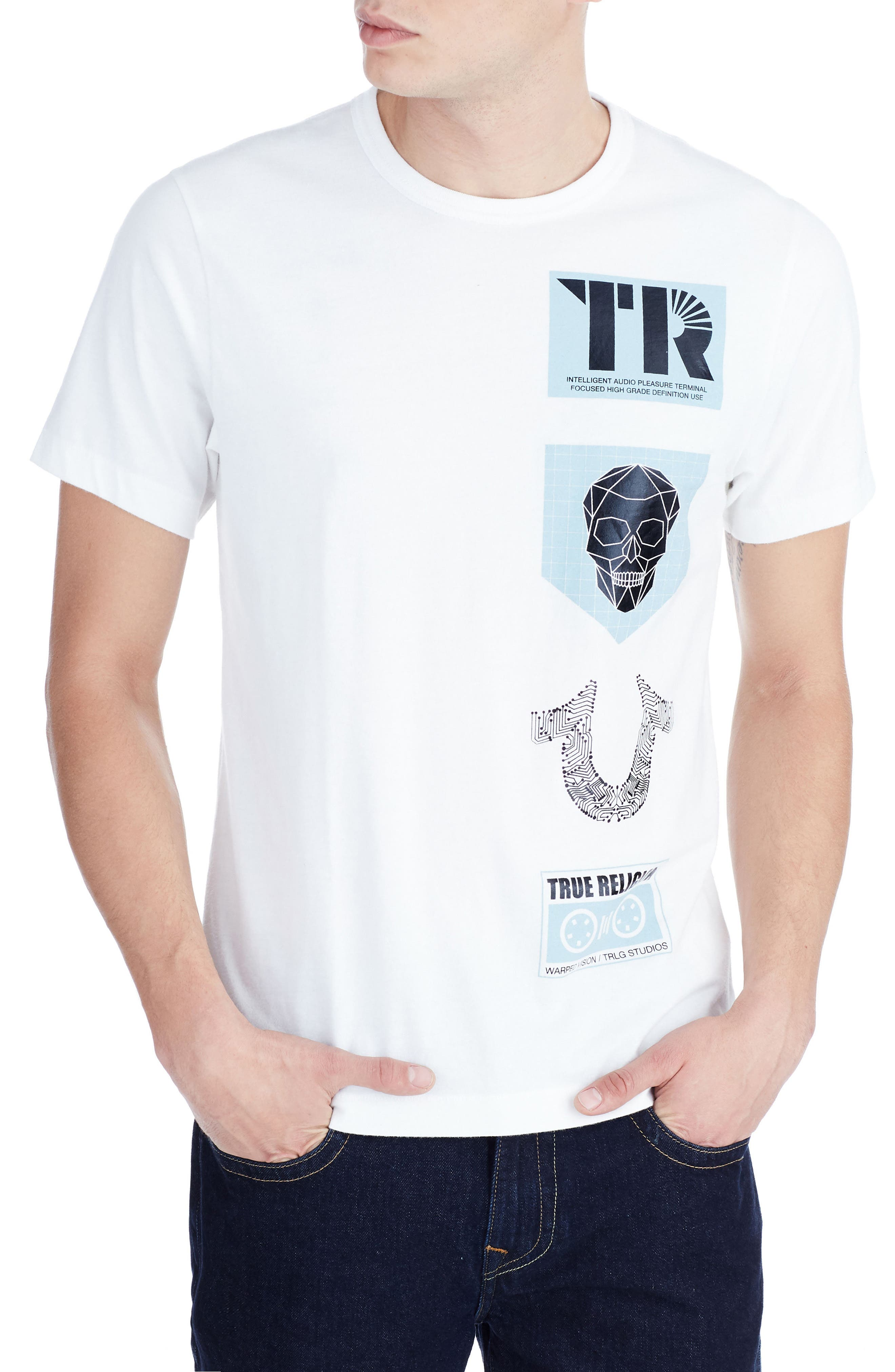 TRUE RELIGION BRAND JEANS Warped Vision T-Shirt, Main, color, 100