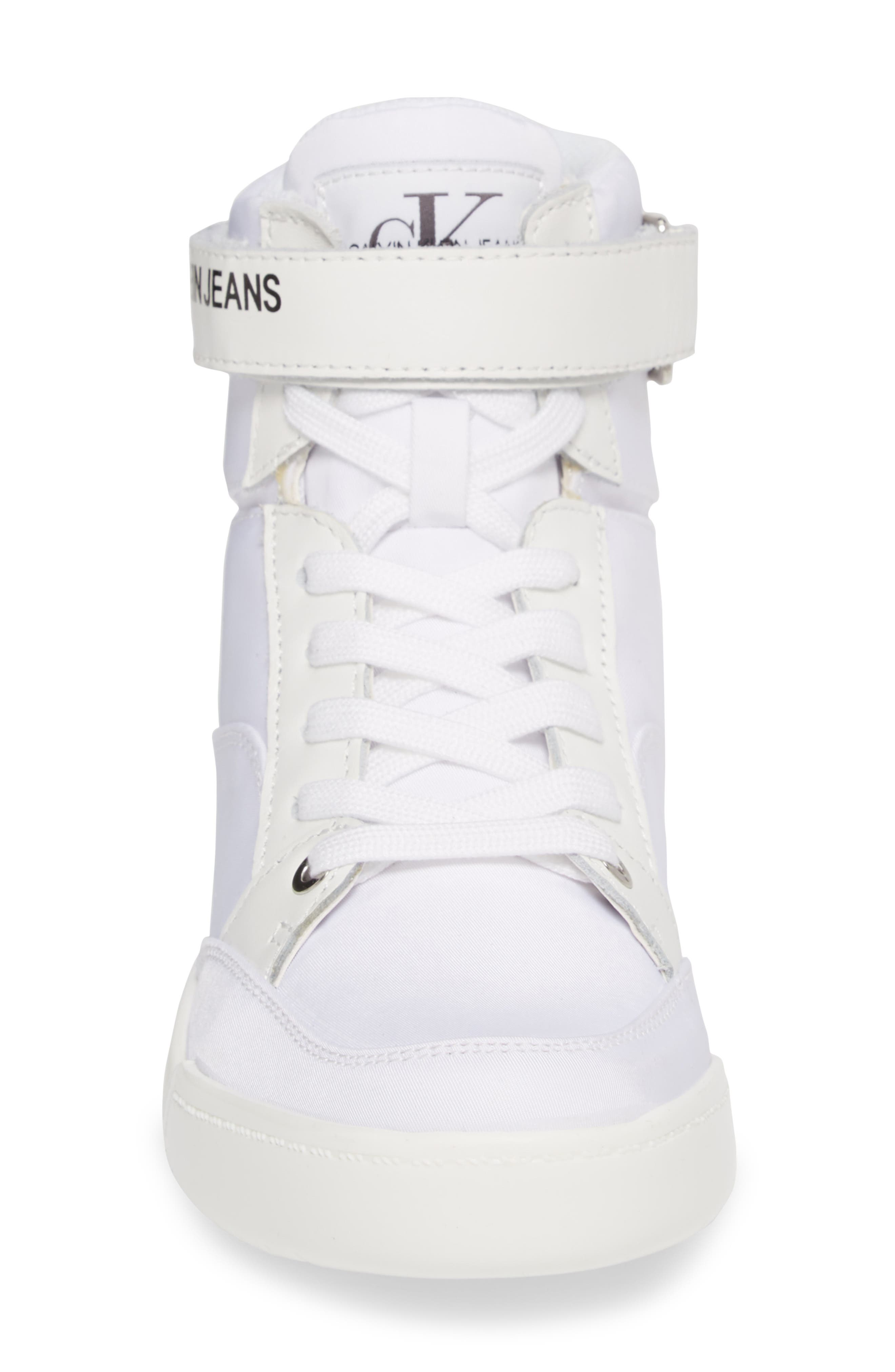 Nelda High Top Sneaker,                             Alternate thumbnail 4, color,                             WHITE LEATHER