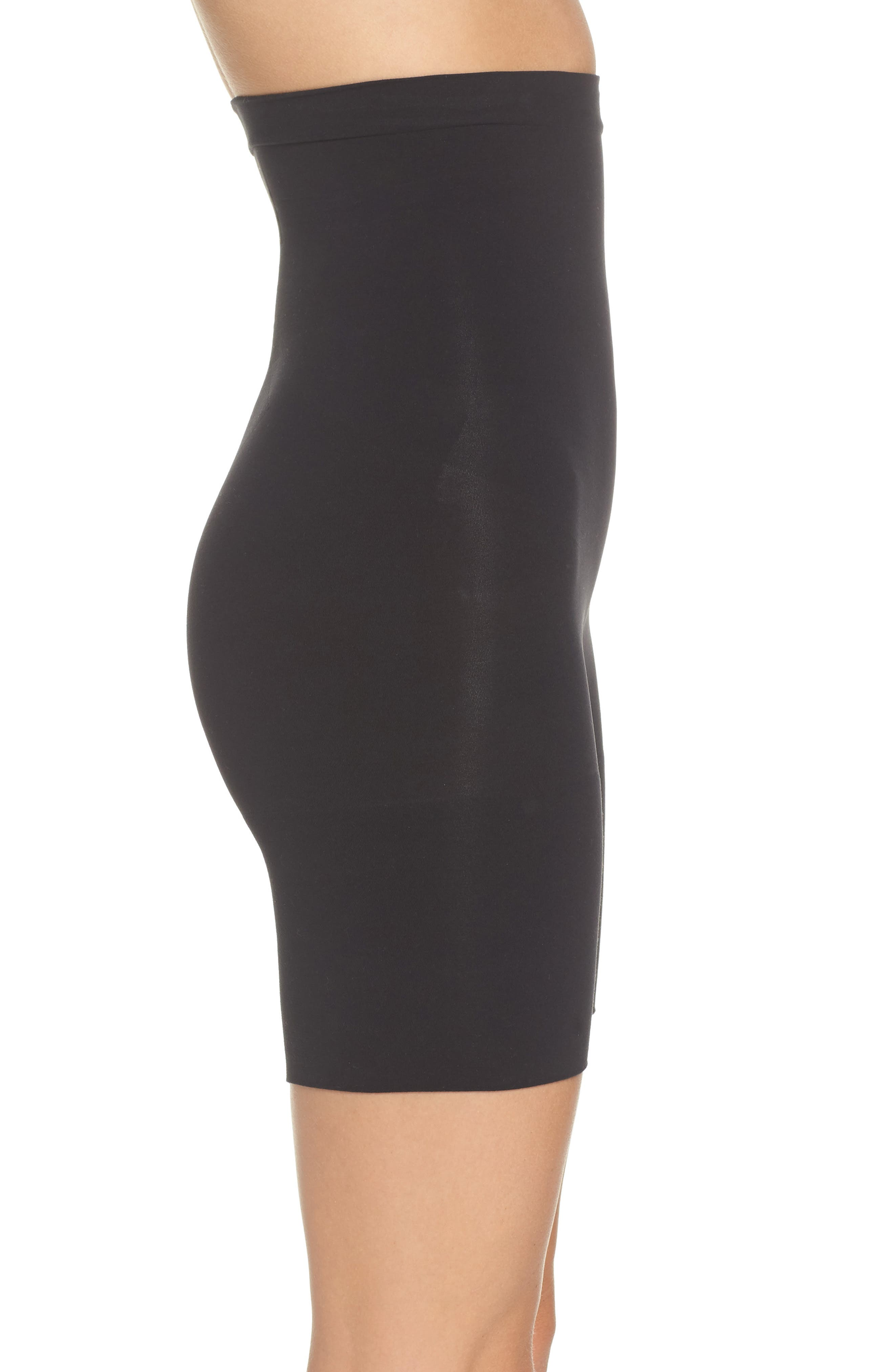 SPANX<SUP>®</SUP>,                             Higher Power Mid-Thigh Shaping Shorts,                             Alternate thumbnail 3, color,                             VERY BLACK