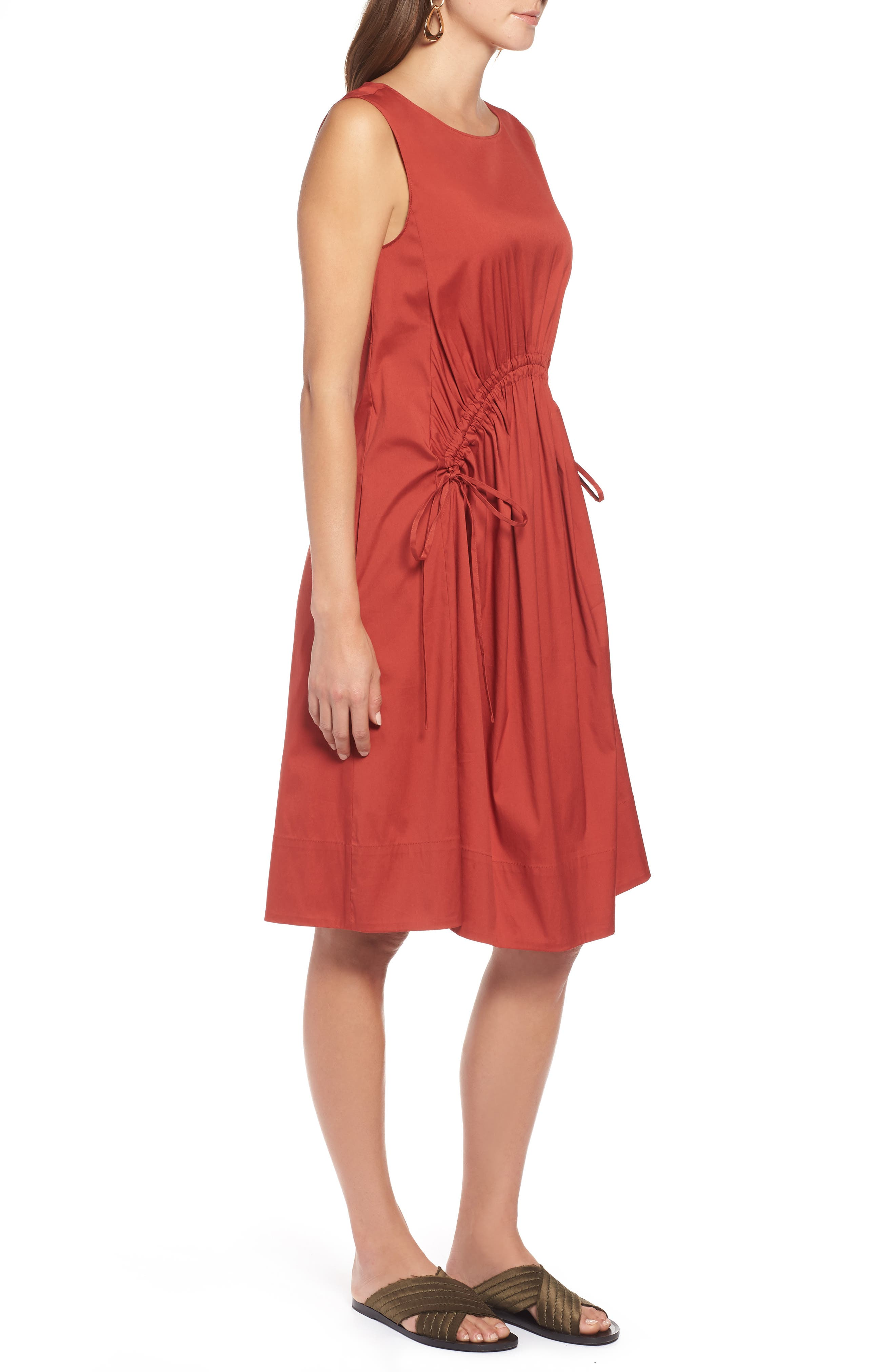 Drawcord Stretch Cotton Blend Dress,                             Alternate thumbnail 3, color,                             221