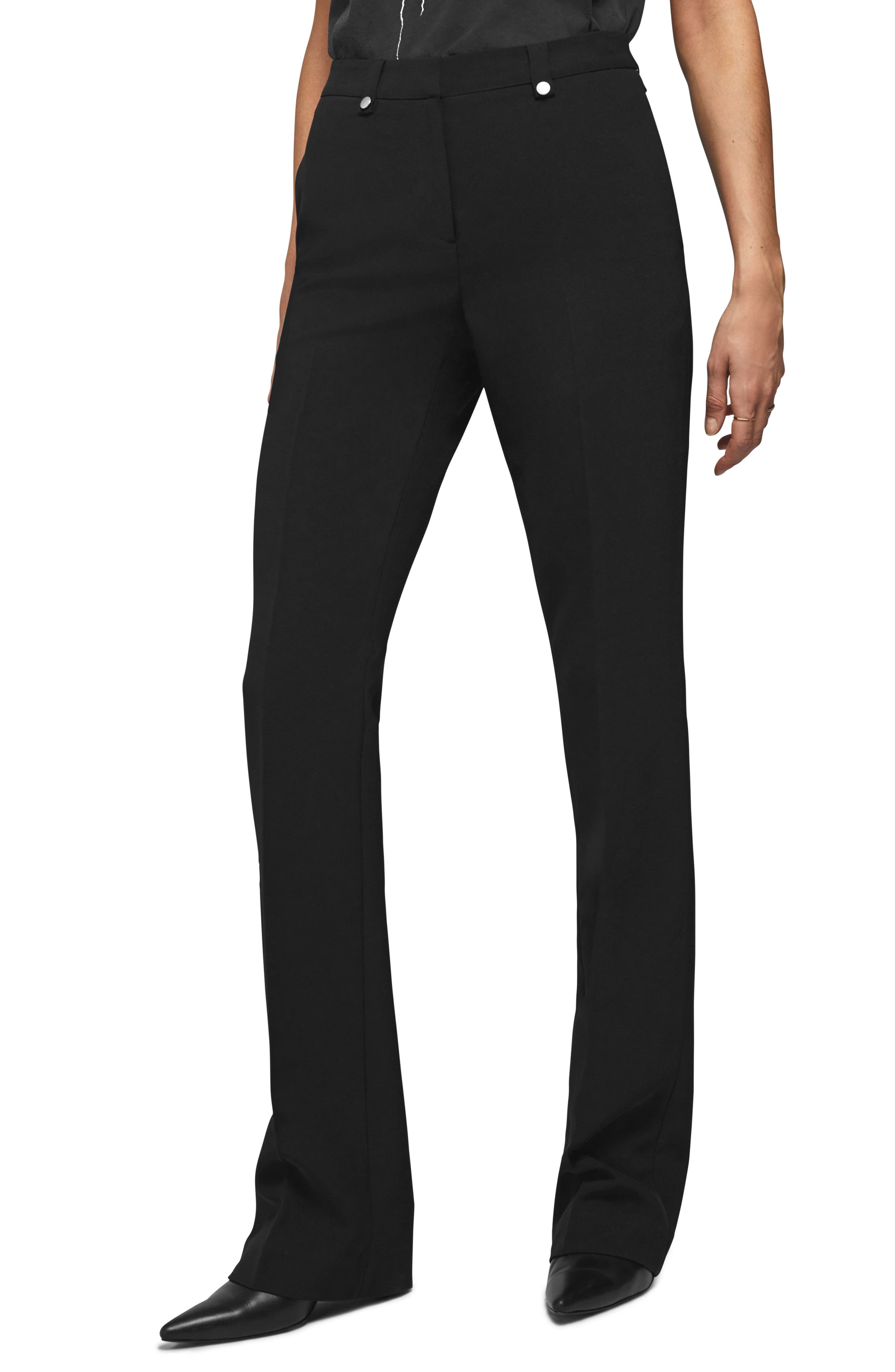Anine Bing Flared Suit Pants, Black