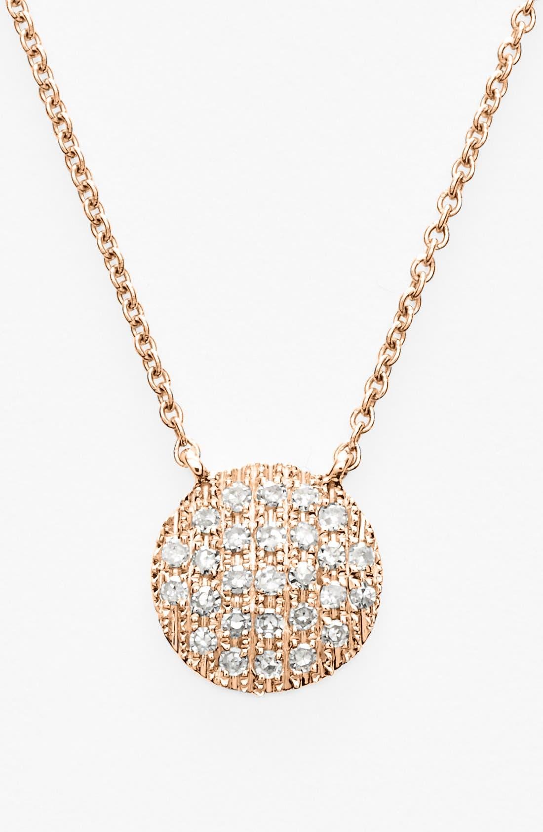 DANA REBECCA DESIGNS,                             'Lauren Joy' Diamond Disc Pendant Necklace,                             Main thumbnail 1, color,                             ROSE GOLD