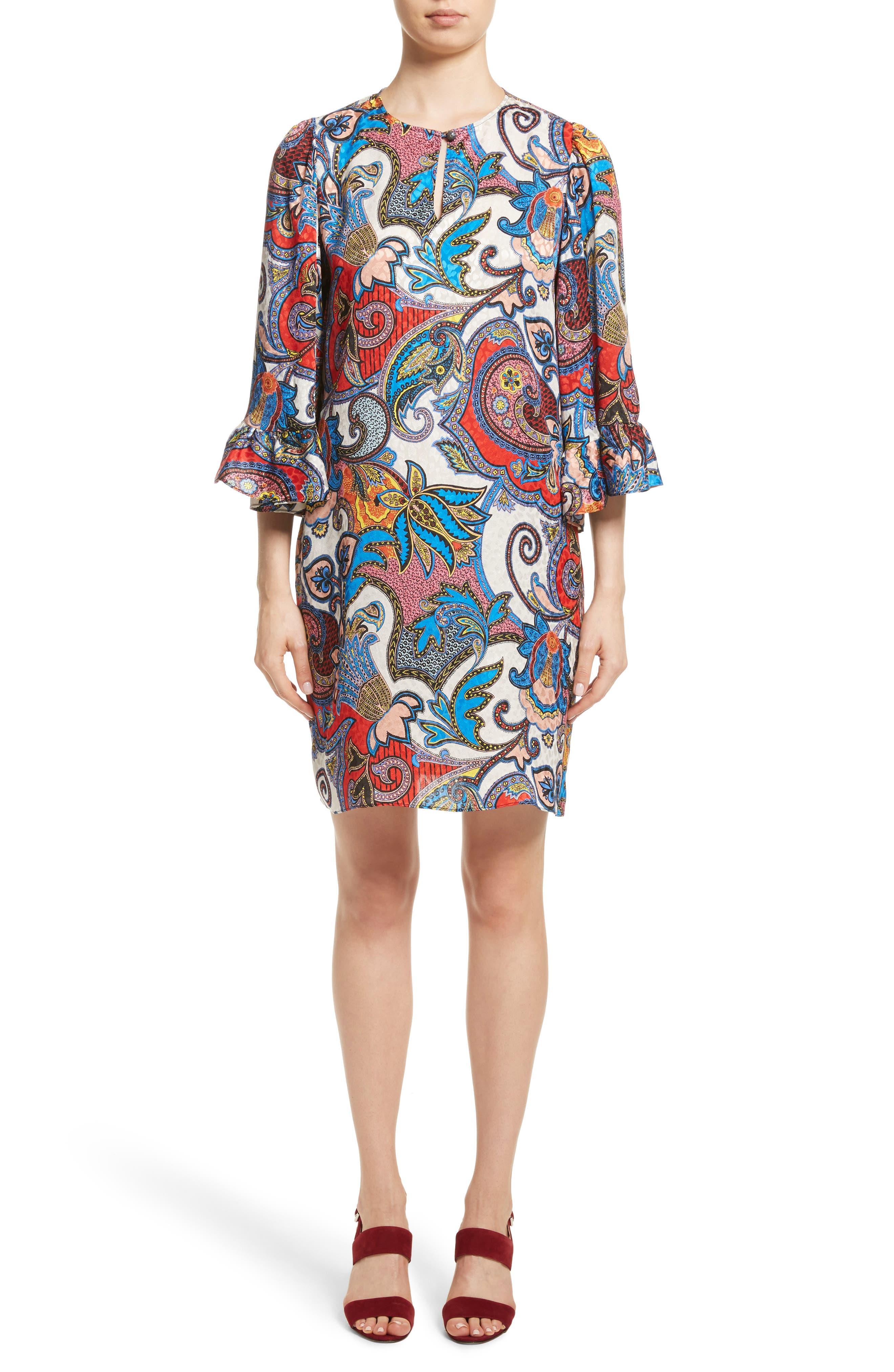Paisley Print Silk Flutter Sleeve Dress,                         Main,                         color, 401