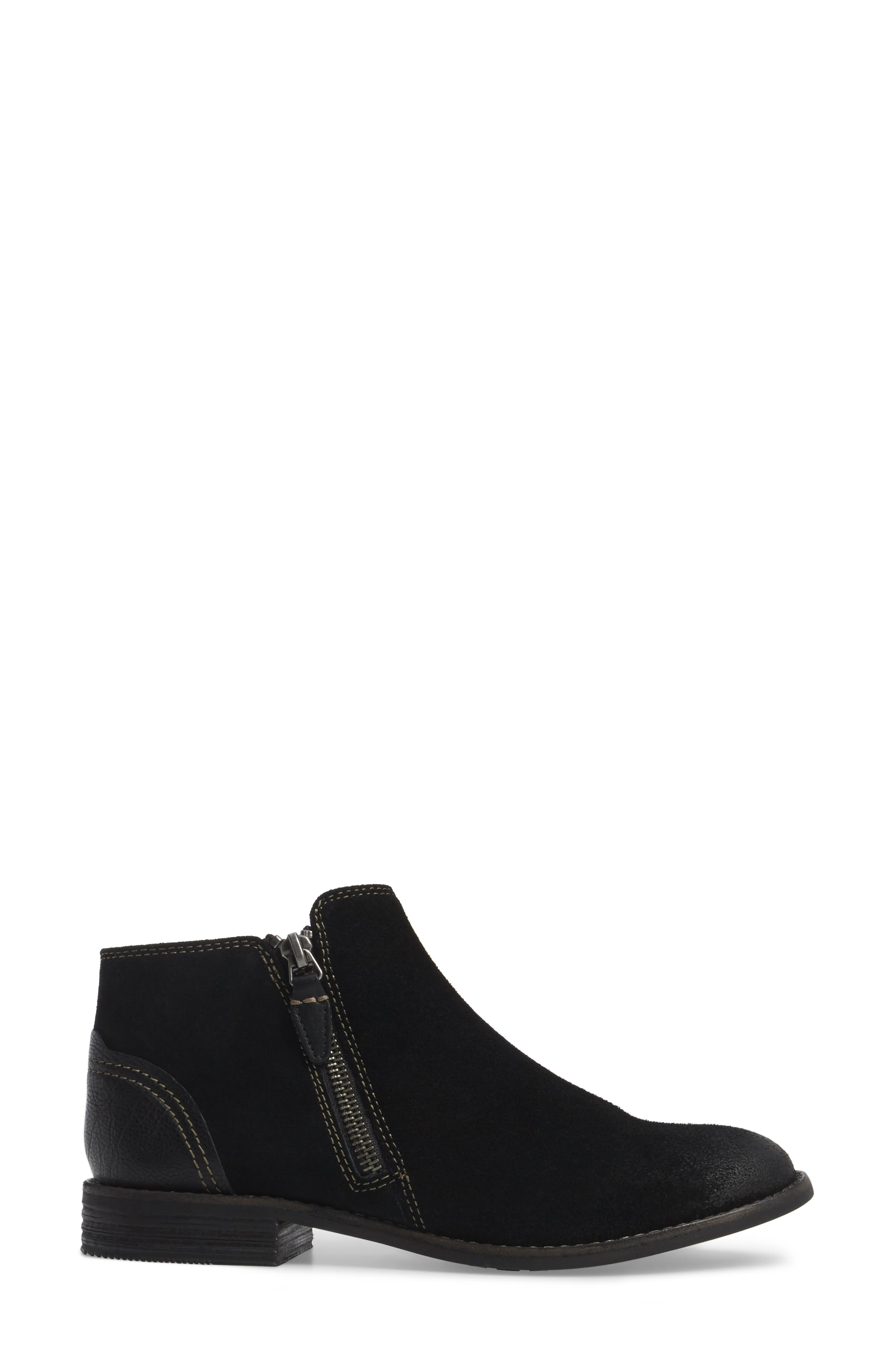 Maypearl Juno Ankle Boot,                             Alternate thumbnail 3, color,                             BLACK SUEDE