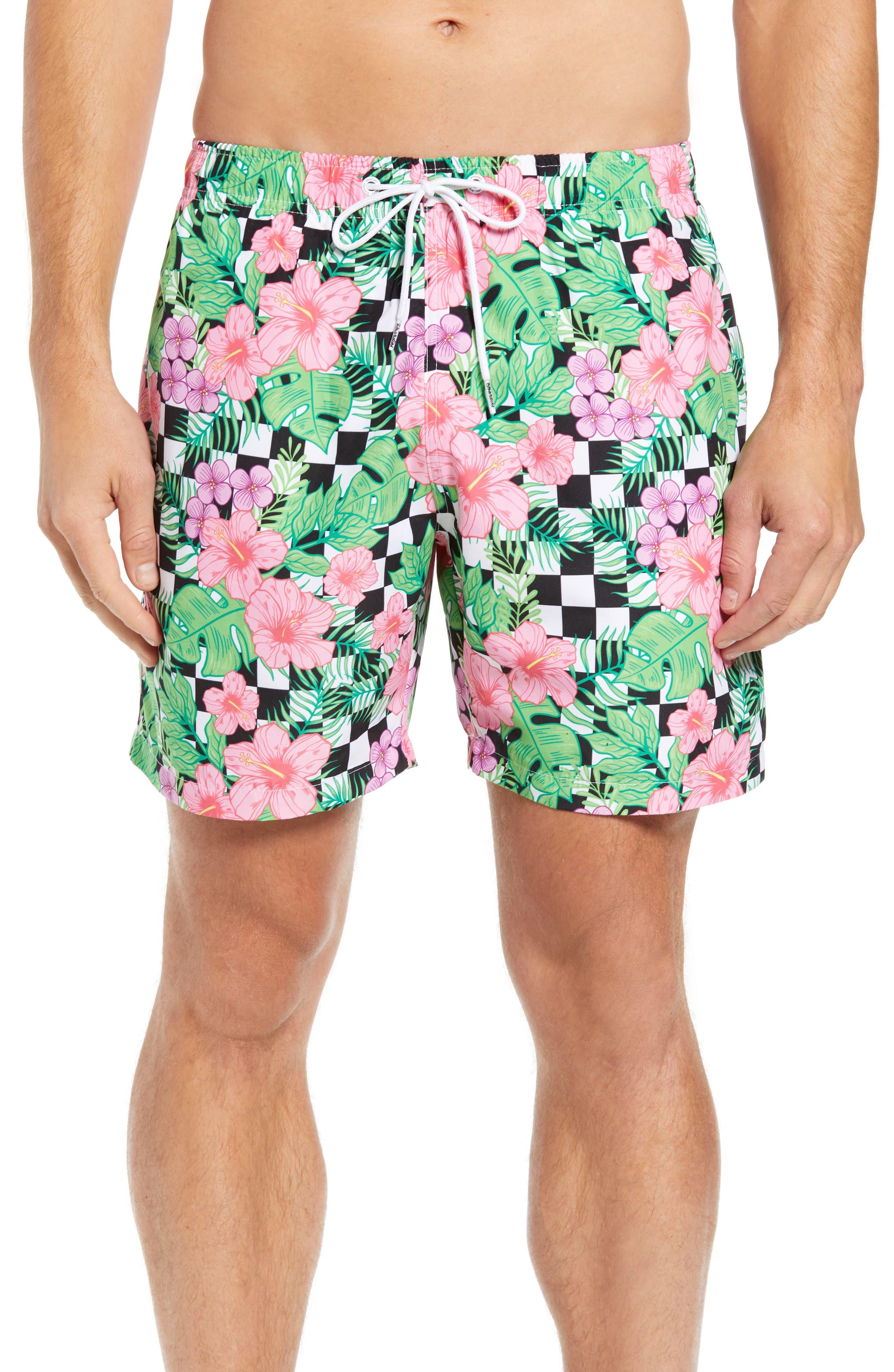 Checkerboard Floral Print Swim Trunks,                         Main,                         color, MULTI