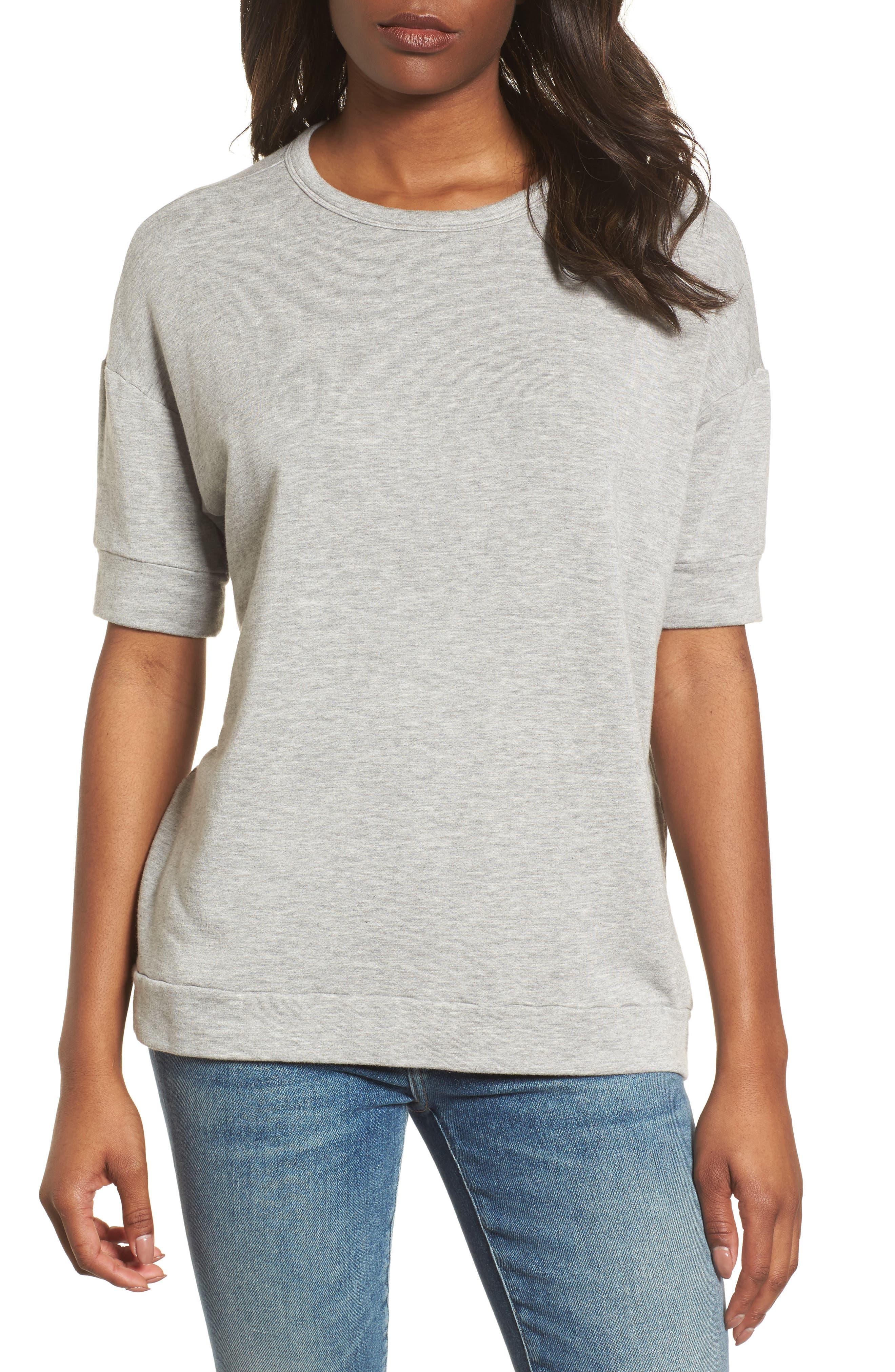 Short Sleeve Sweatshirt,                             Main thumbnail 1, color,                             050