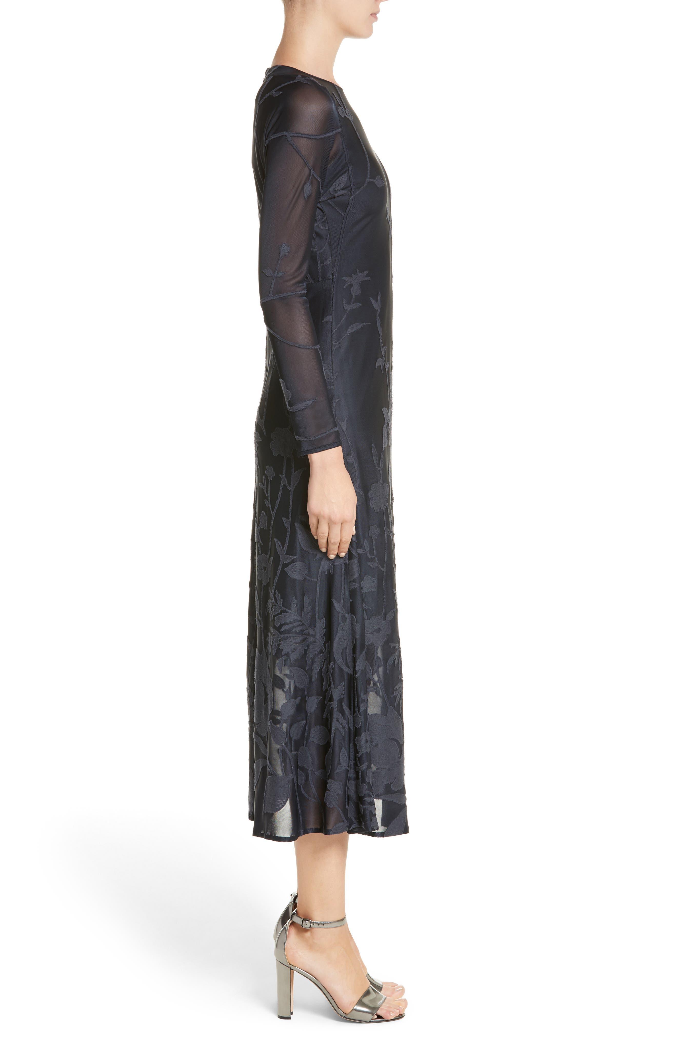 Ivonna Sheer Fil Coupé Midi Dress,                             Alternate thumbnail 3, color,                             479