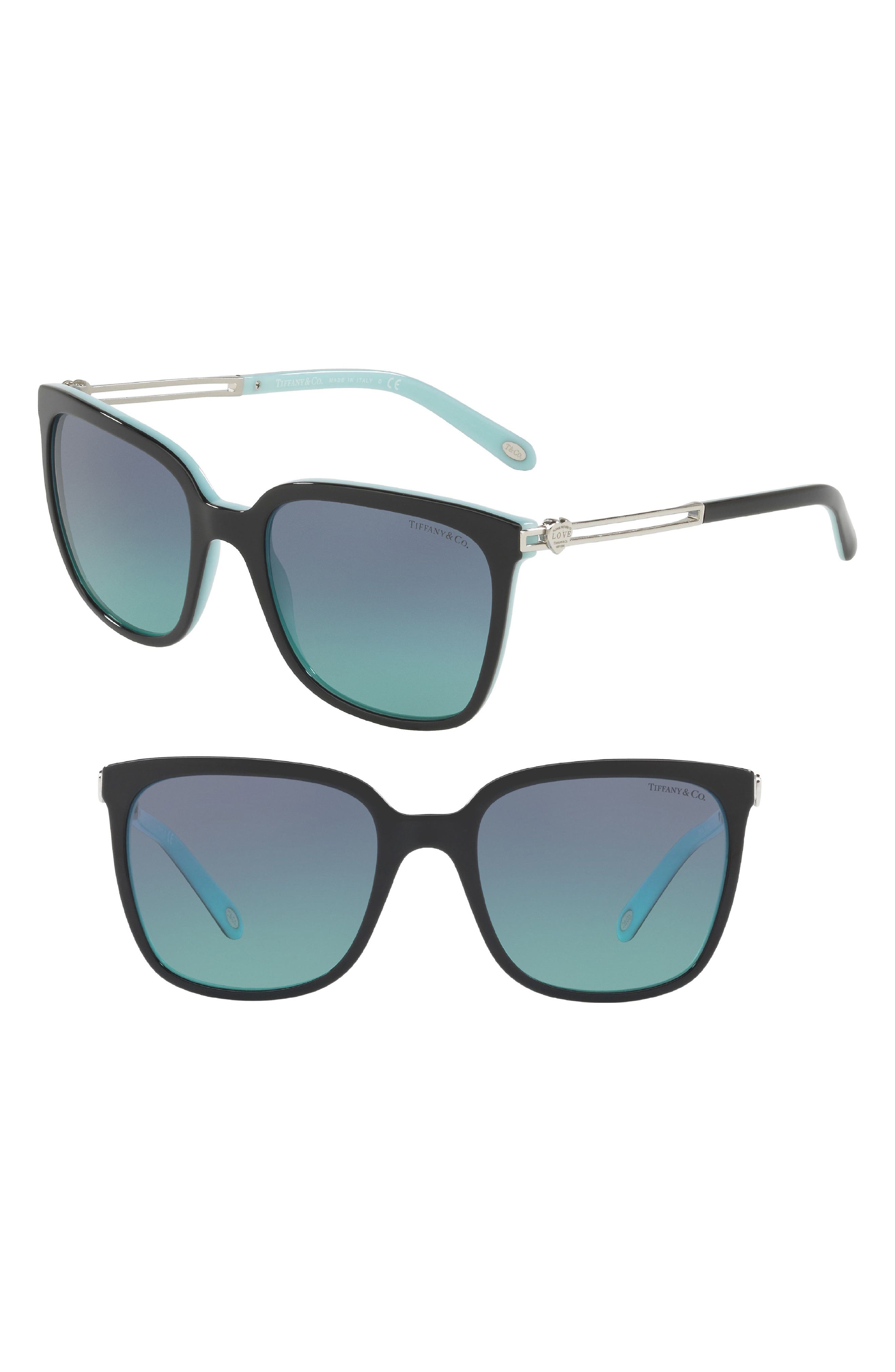 Tiffany 54mm Sunglasses,                         Main,                         color, BLACK/ BLUE GRADIENT