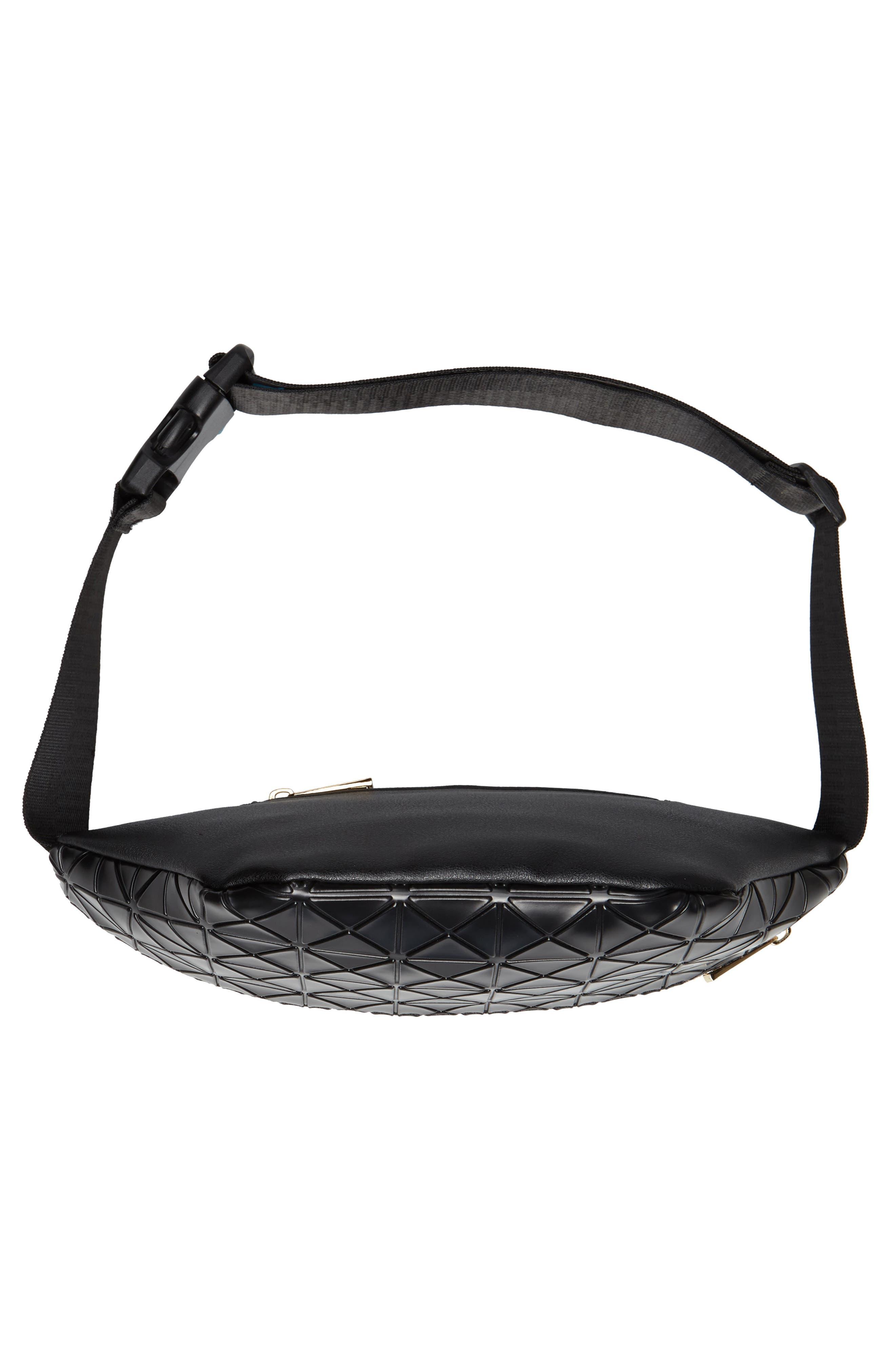 Geometric Detail Faux Leather Belt Bag,                             Alternate thumbnail 7, color,                             BLACK