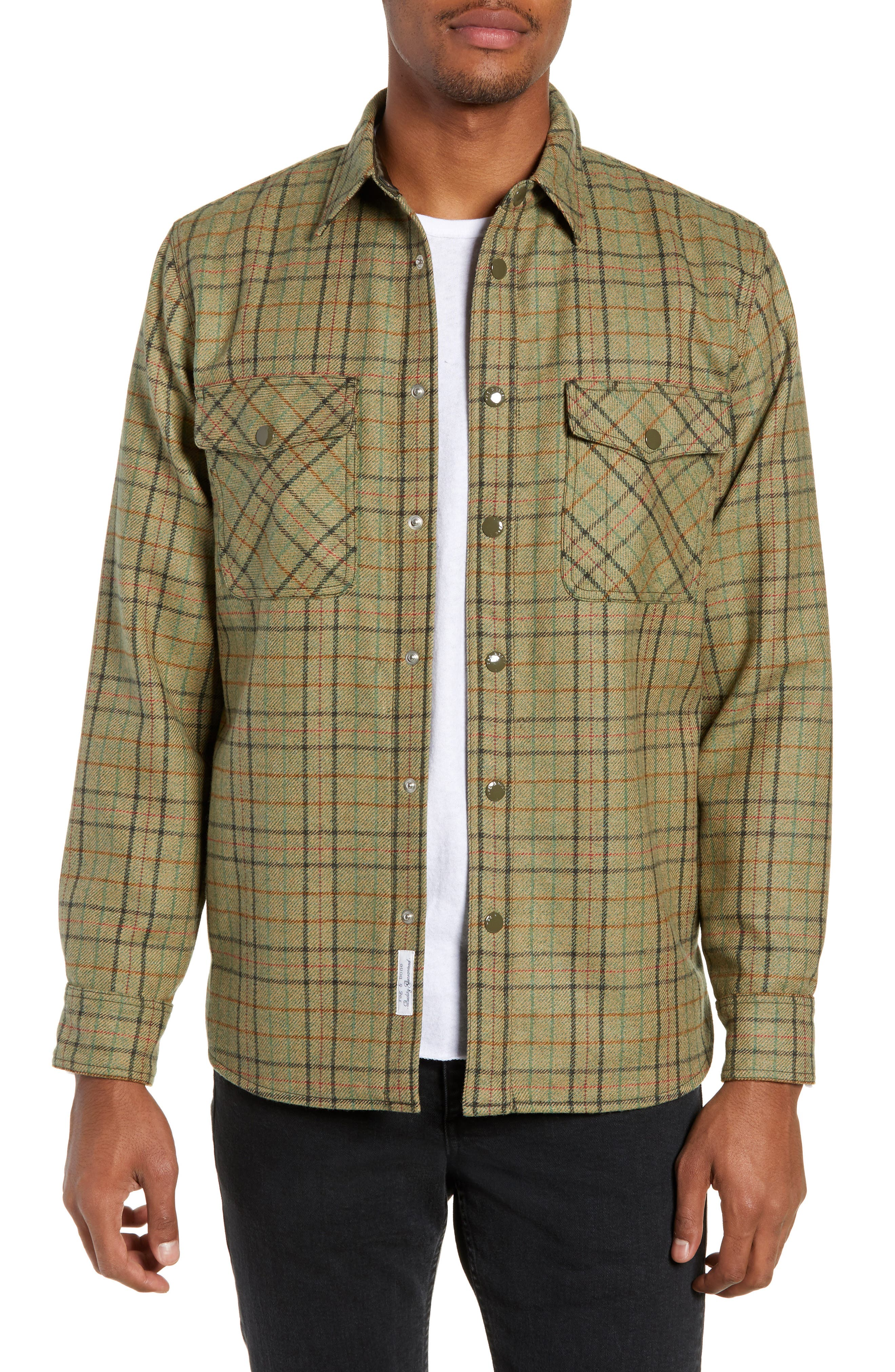 Jack Plaid Wool Overshirt,                         Main,                         color, OLIVE MULTI