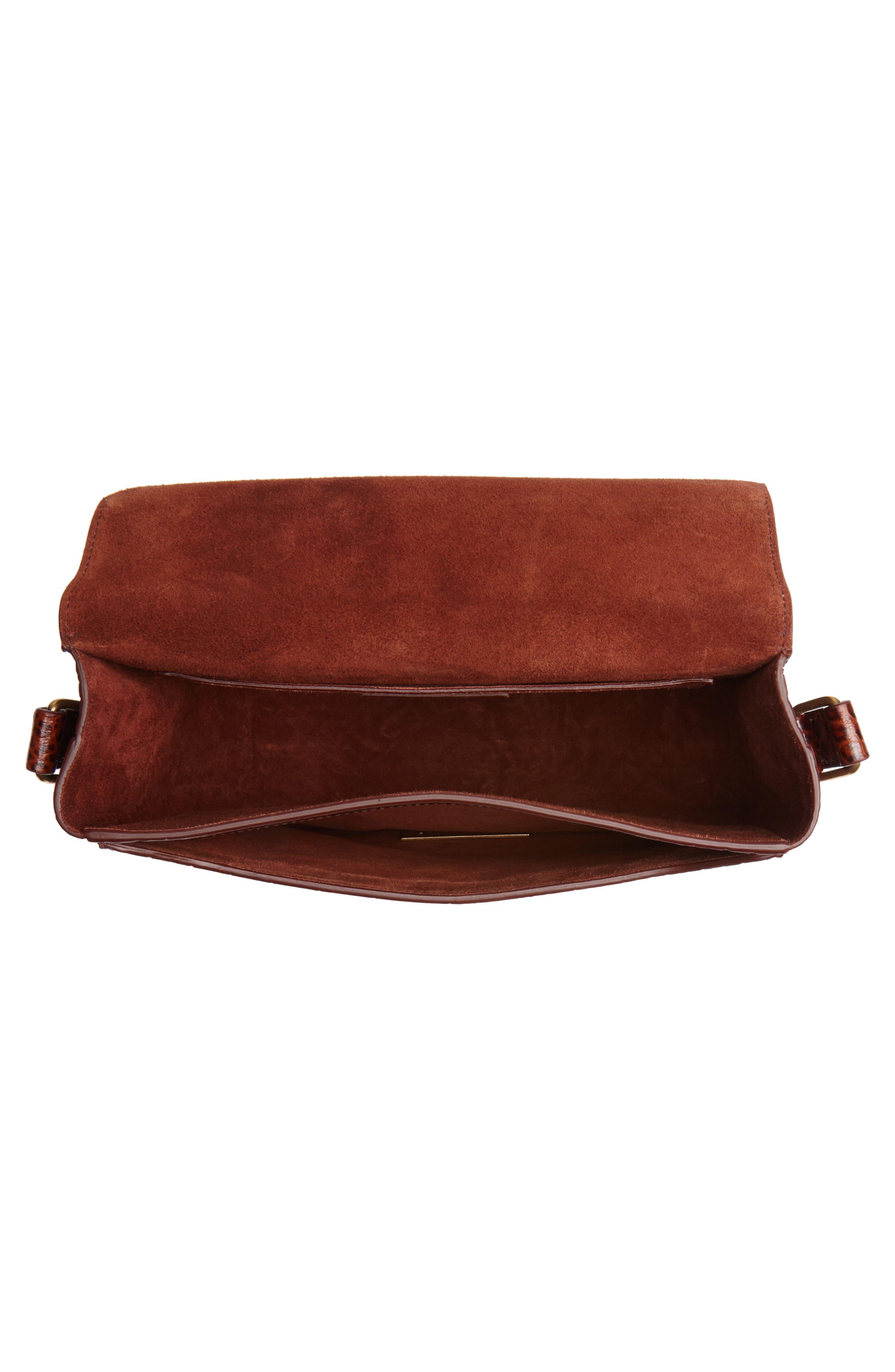 Betty Croc Embossed Leather Shoulder Bag,                             Alternate thumbnail 4, color,                             DARK BLOOD